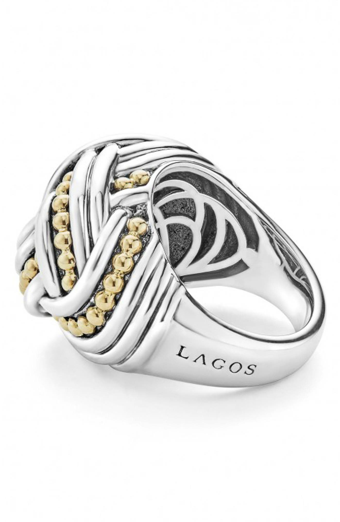 Torsade Large Rounded Rectangle Ring,                             Alternate thumbnail 3, color,                             Silver/ Gold