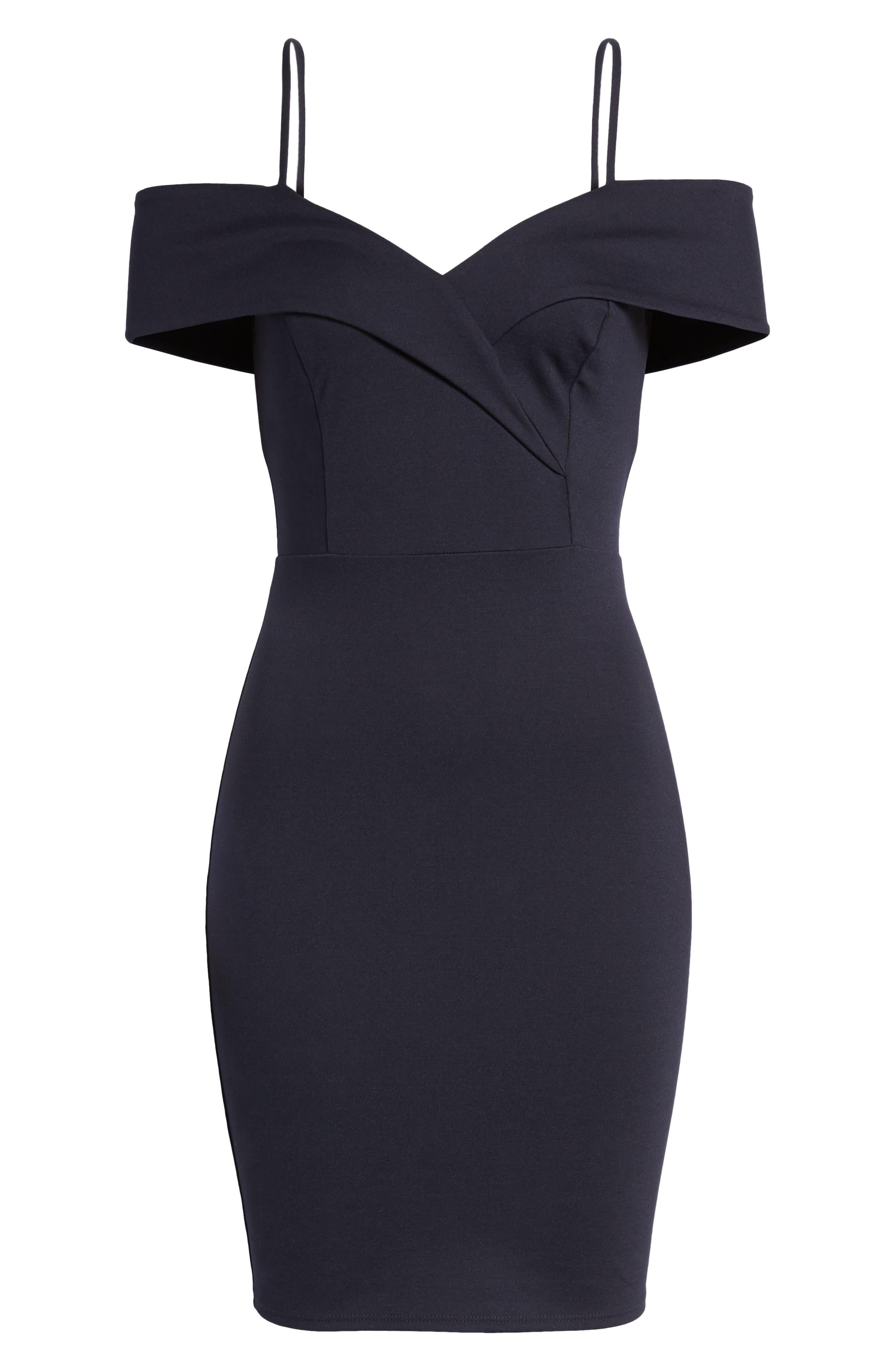 Cold Shoulder Body-Con Dress,                             Alternate thumbnail 7, color,                             Navy Pea Coat