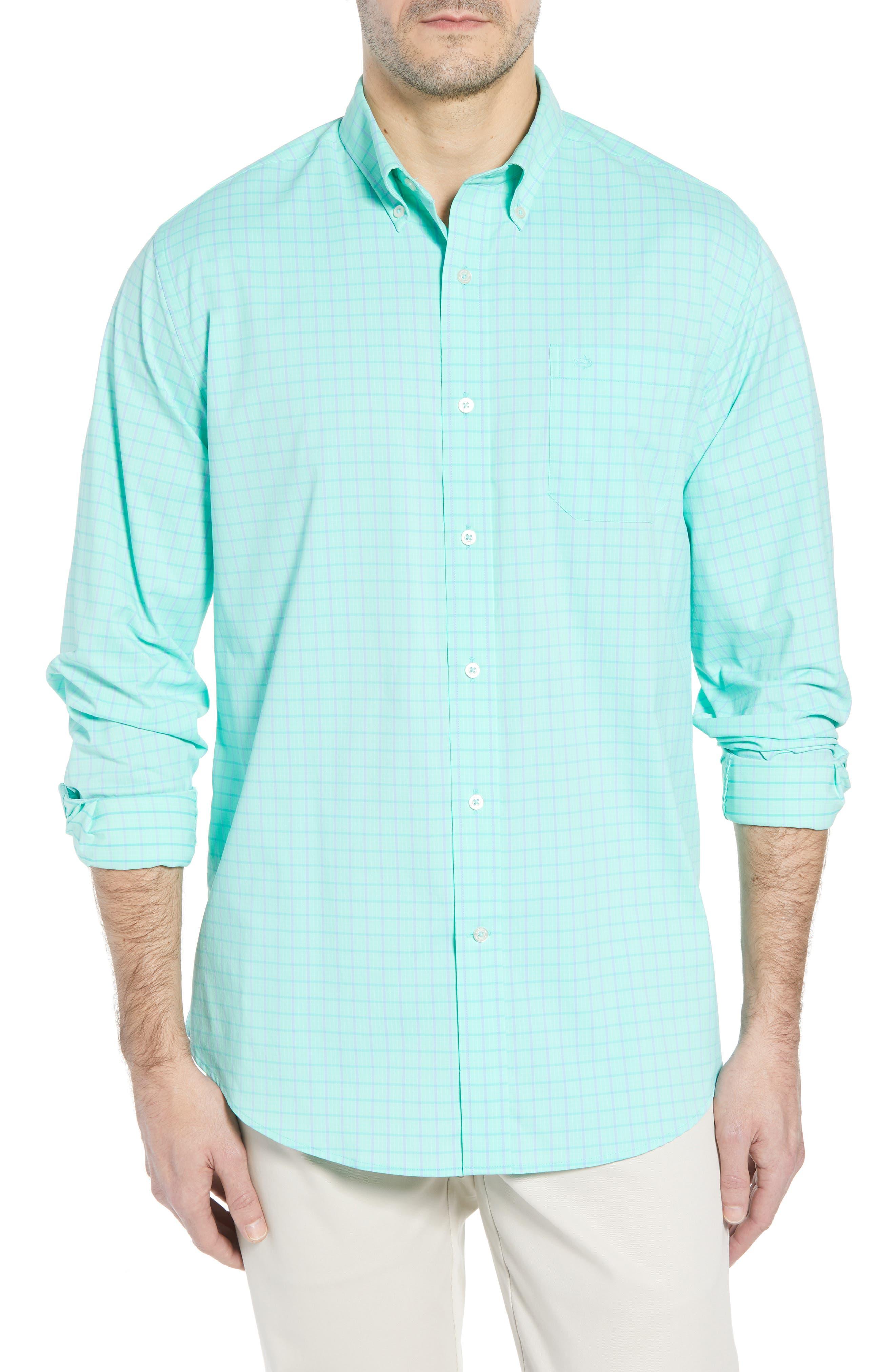 Intercoastal Gordia Plaid Sport Shirt,                         Main,                         color, Sea Foam
