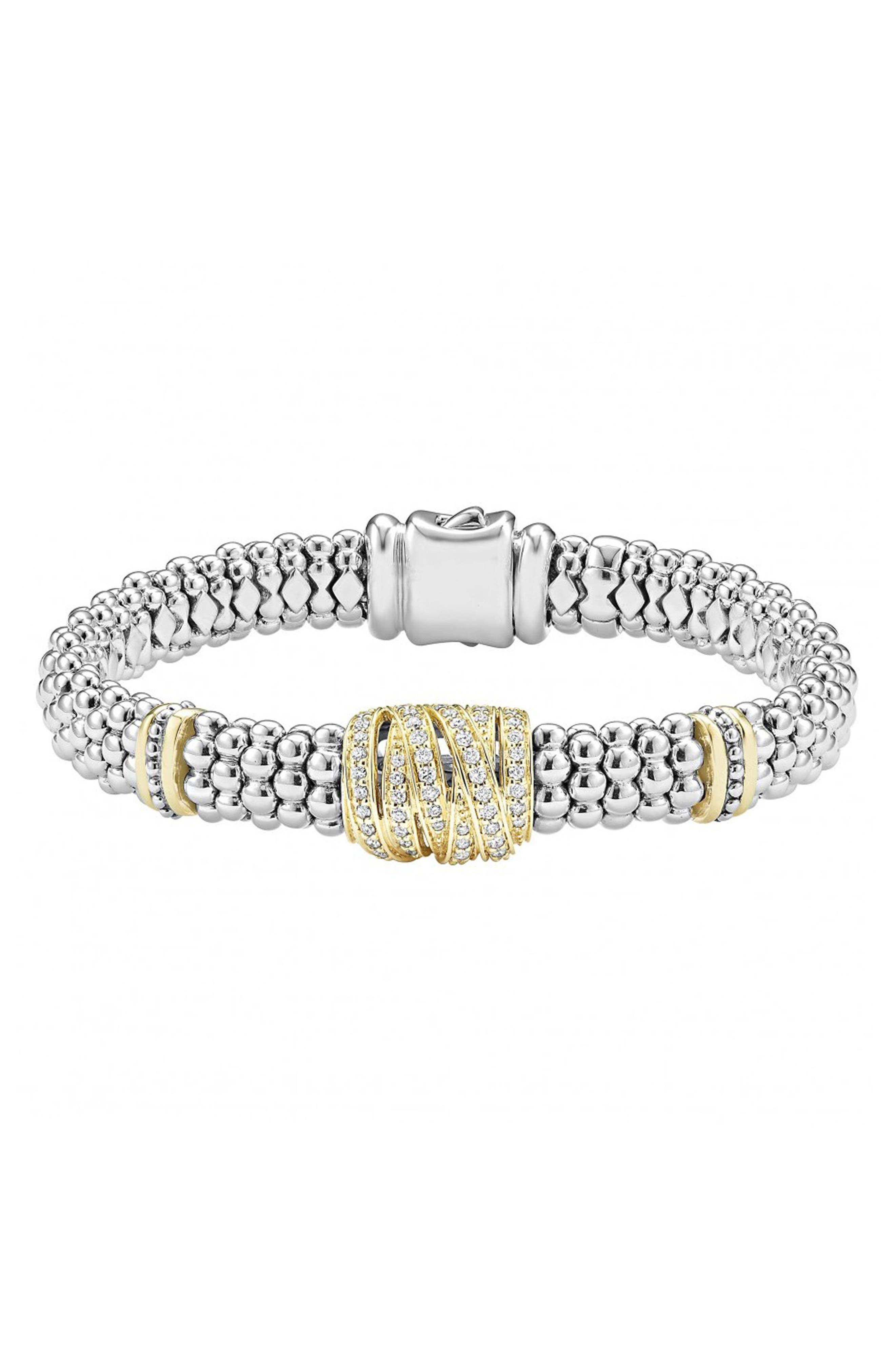 'Diamonds & Caviar' Diamond Rope Bracelet,                             Main thumbnail 1, color,                             Sterling Silver/ Gold