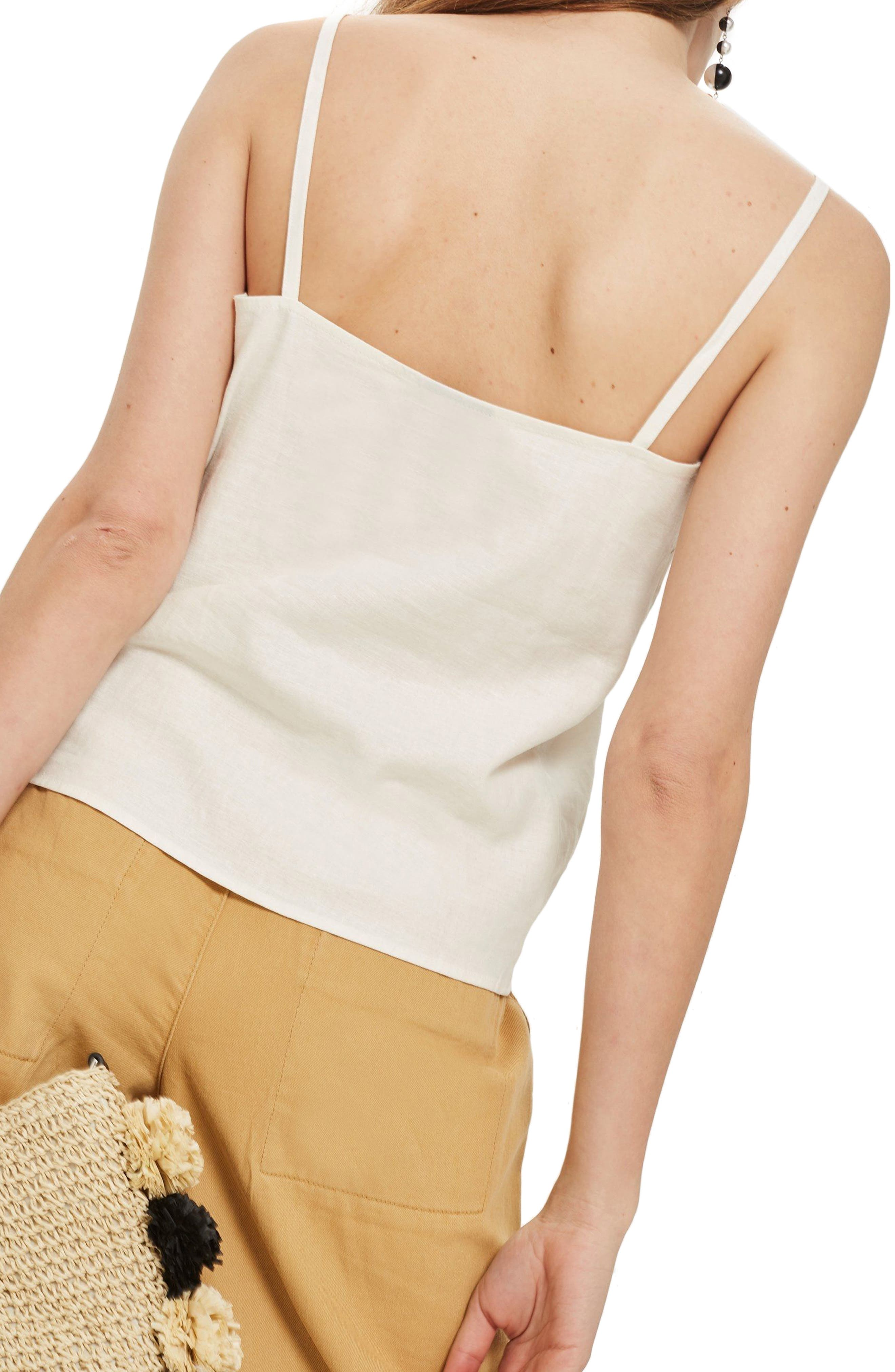 Button Through Camisole Top,                             Alternate thumbnail 2, color,                             Ivory