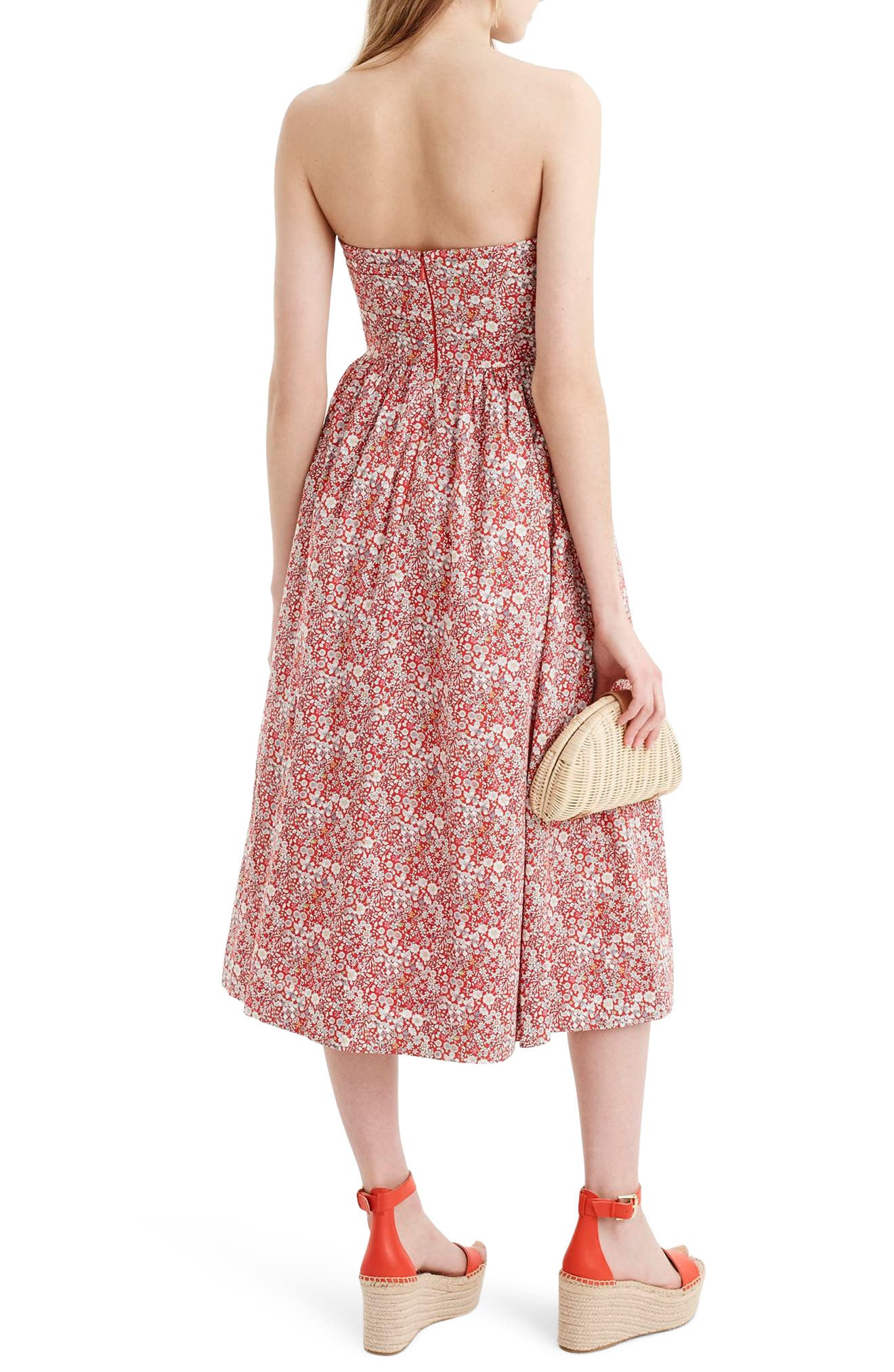 Liberty Tie Front Strapless Dress,                             Alternate thumbnail 2, color,                             Cherry Multi