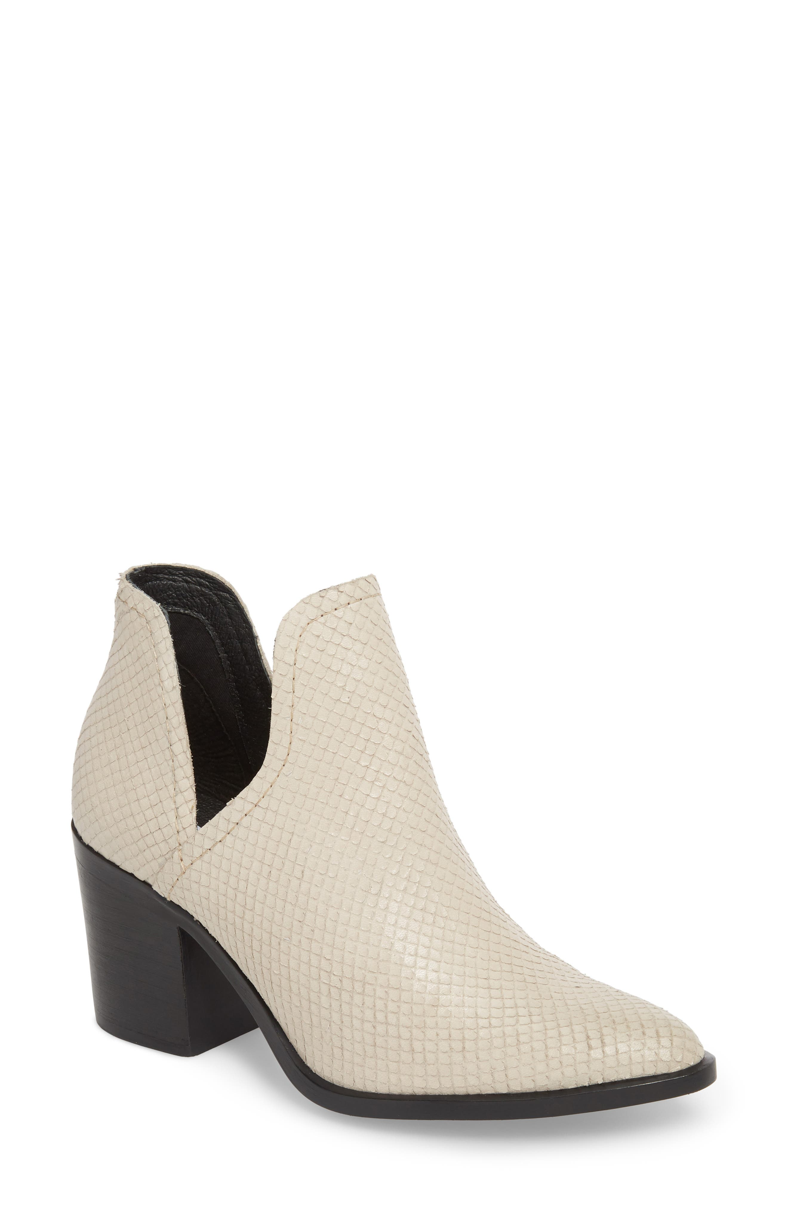Petra Open Side Bootie,                             Main thumbnail 1, color,                             White Snake Print