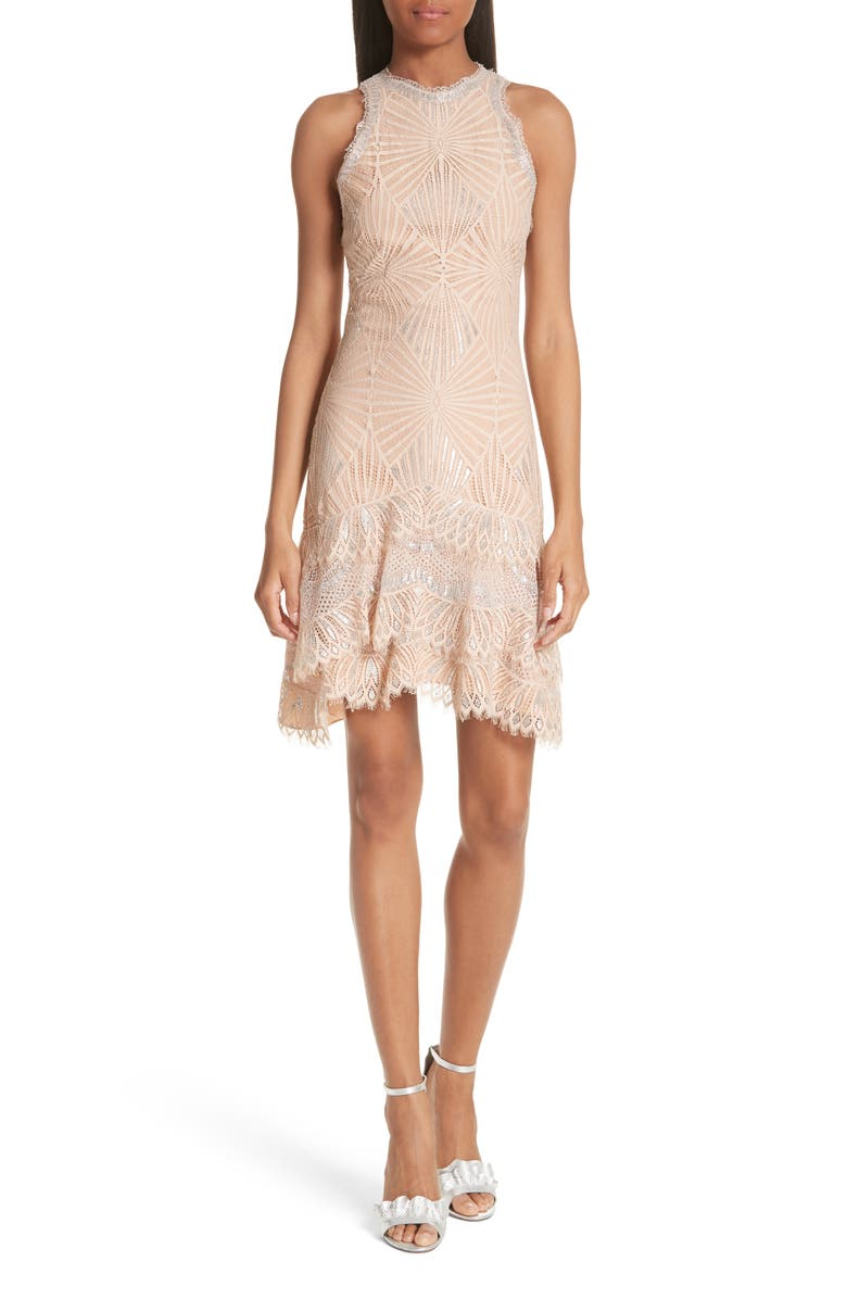 Ruffle Hem Metallic Lace Dress