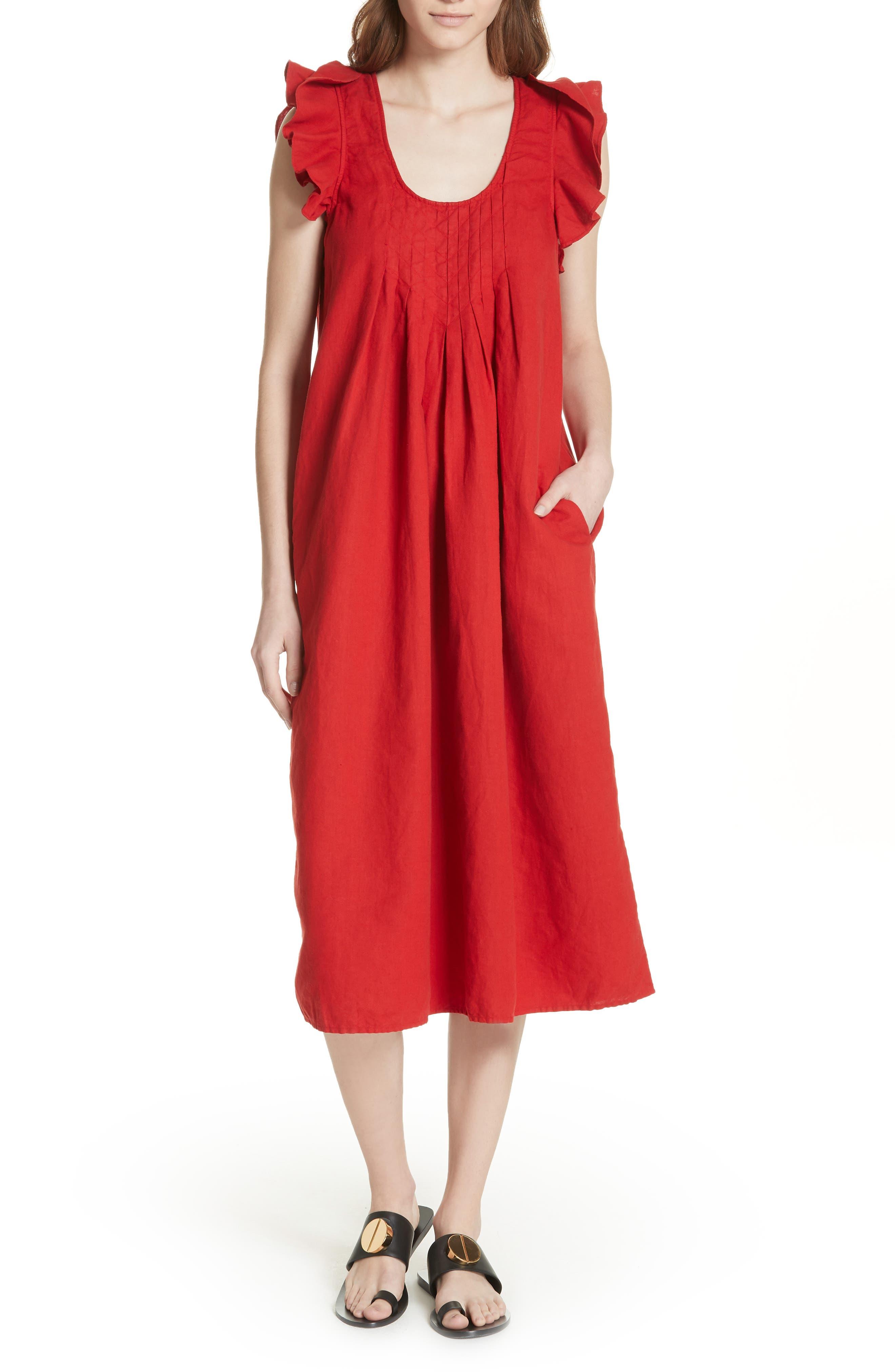 The Flutter Tulip Dress,                         Main,                         color, Poppy