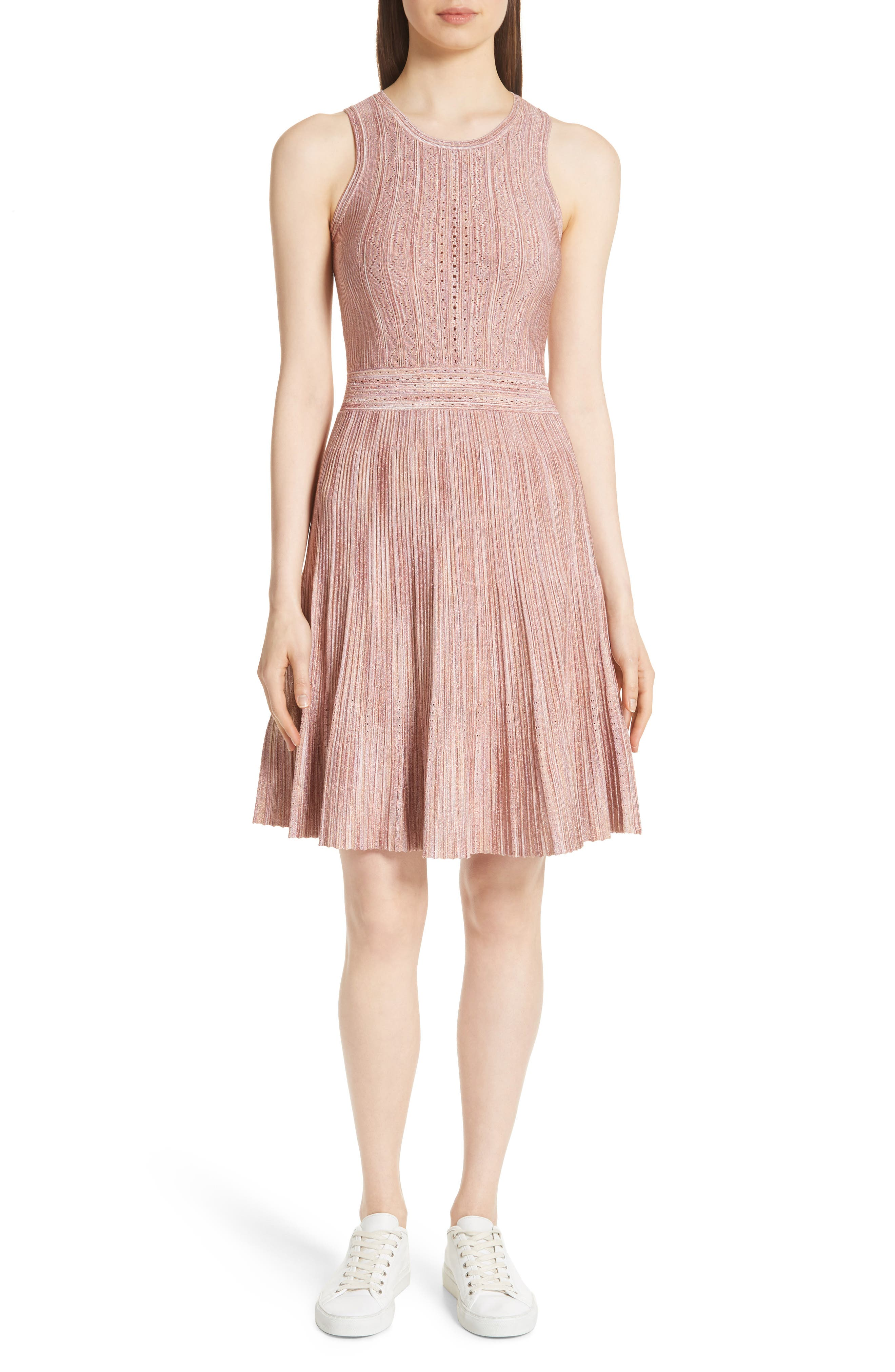 Stretch Knit Fit & Flare Dress,                         Main,                         color, Rose
