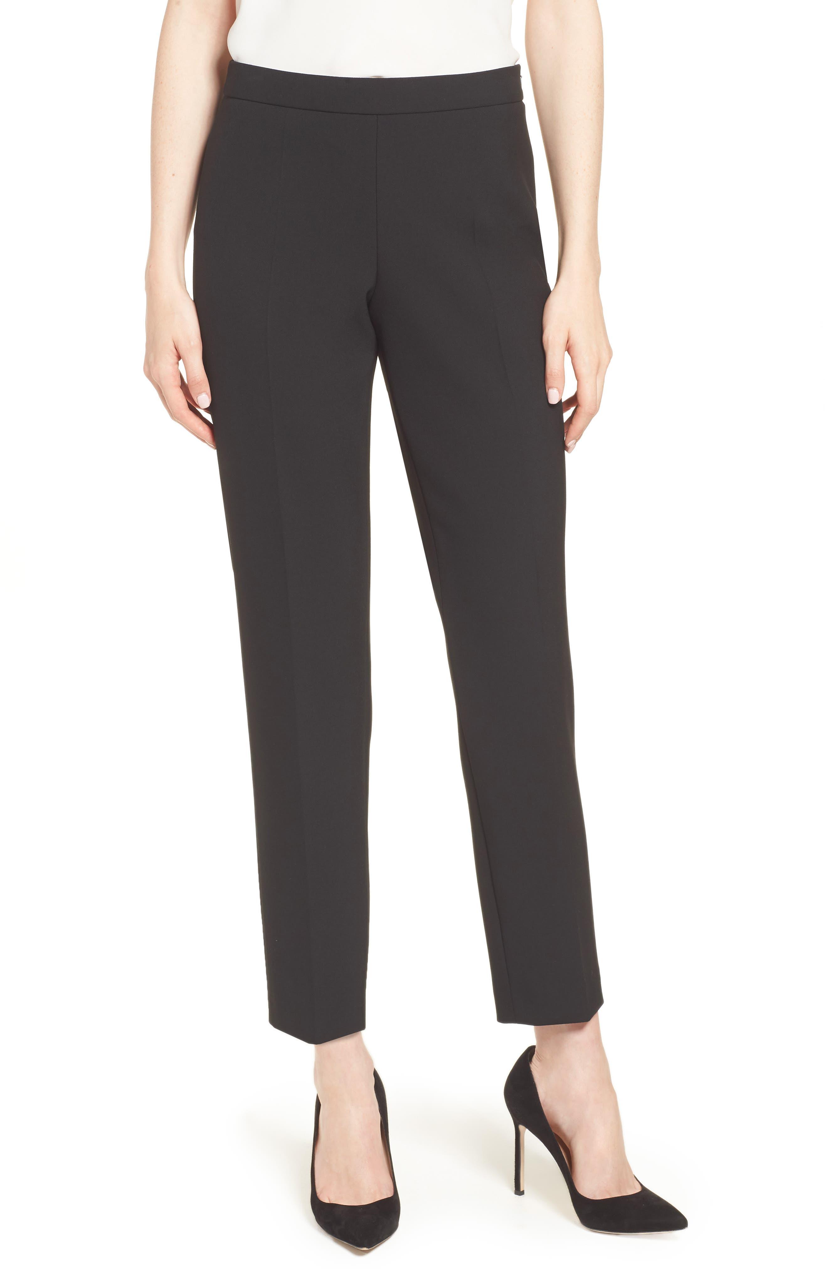 Tiluna Side Zip Ponte Ankle Pants,                         Main,                         color, Black