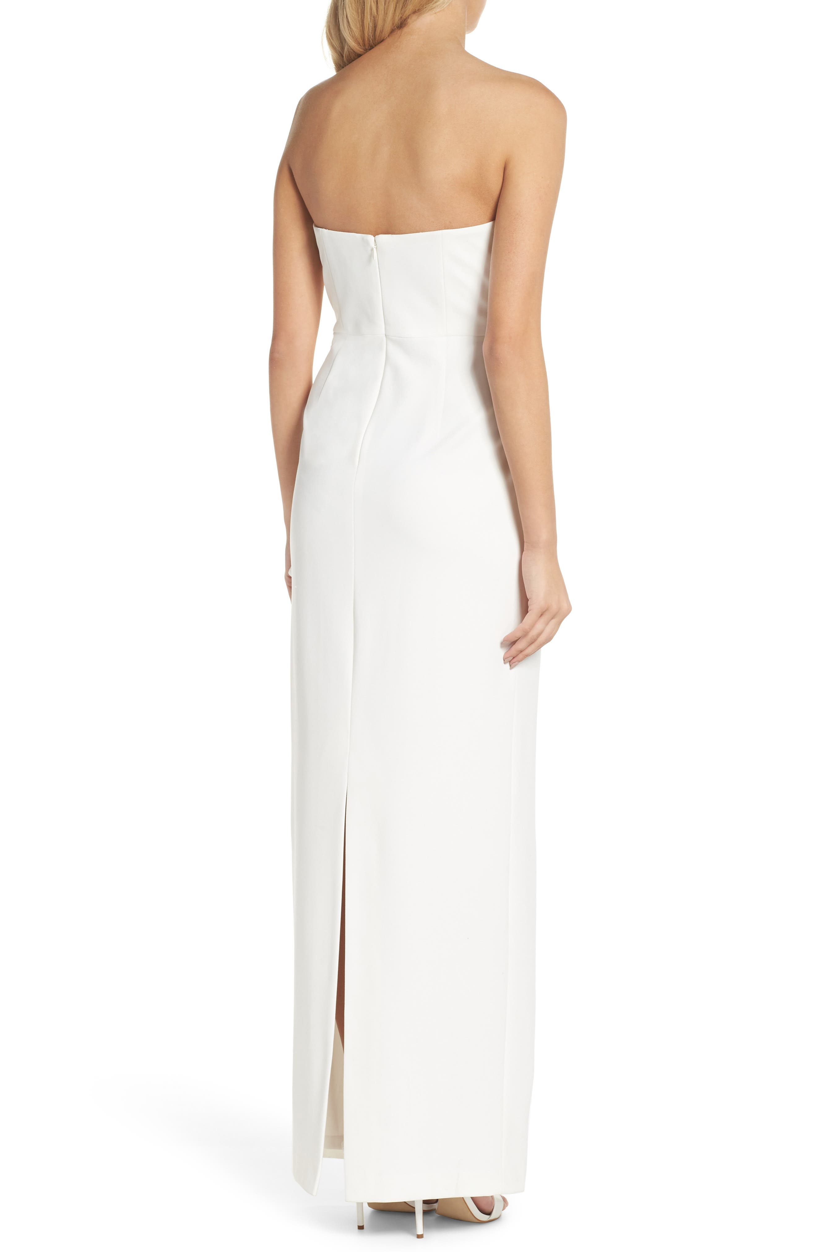 Strapless Bow Column Gown,                             Alternate thumbnail 2, color,                             Ivory