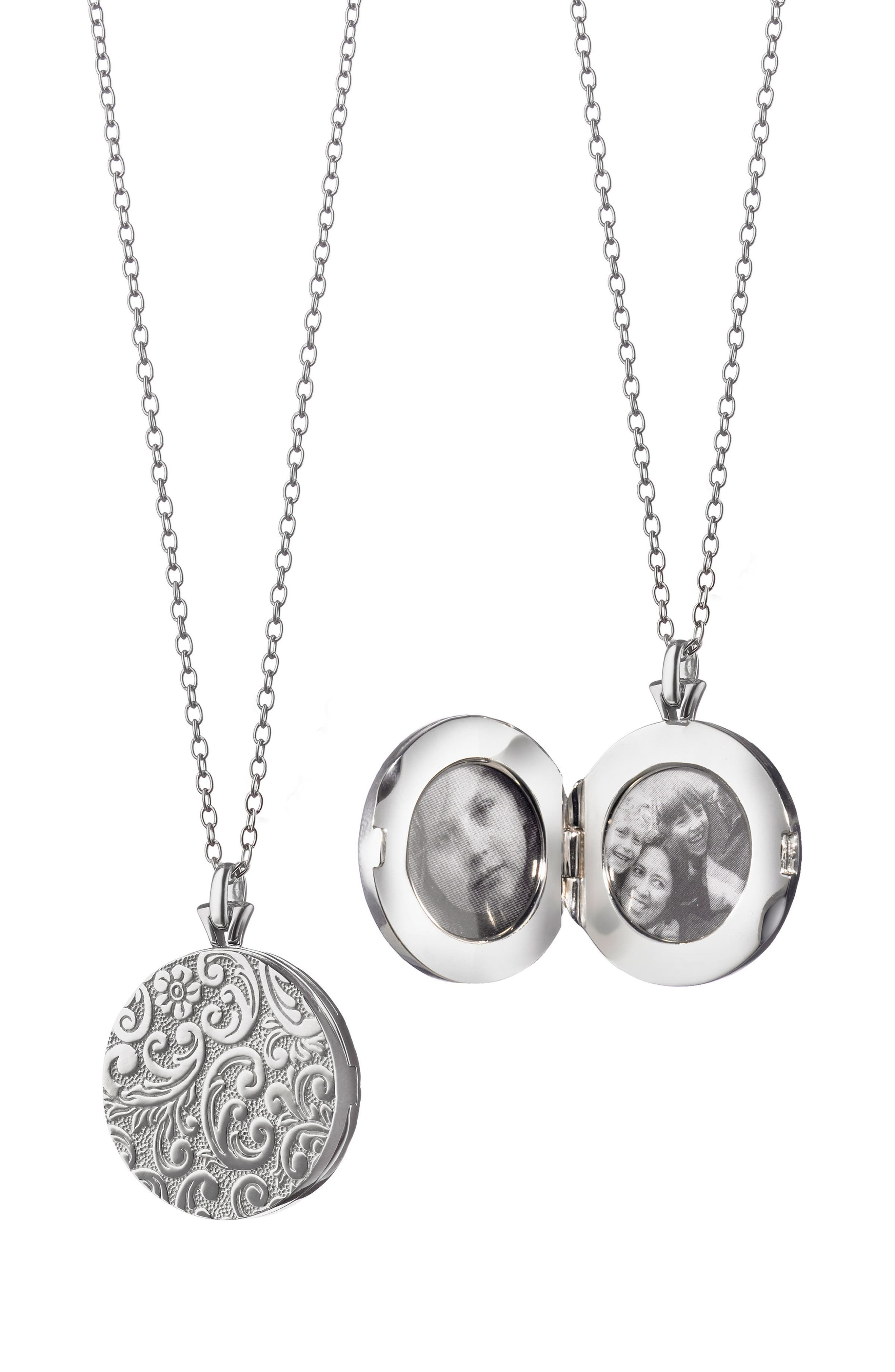 Round Floral Locket Necklace,                             Main thumbnail 1, color,                             Sterling Silver