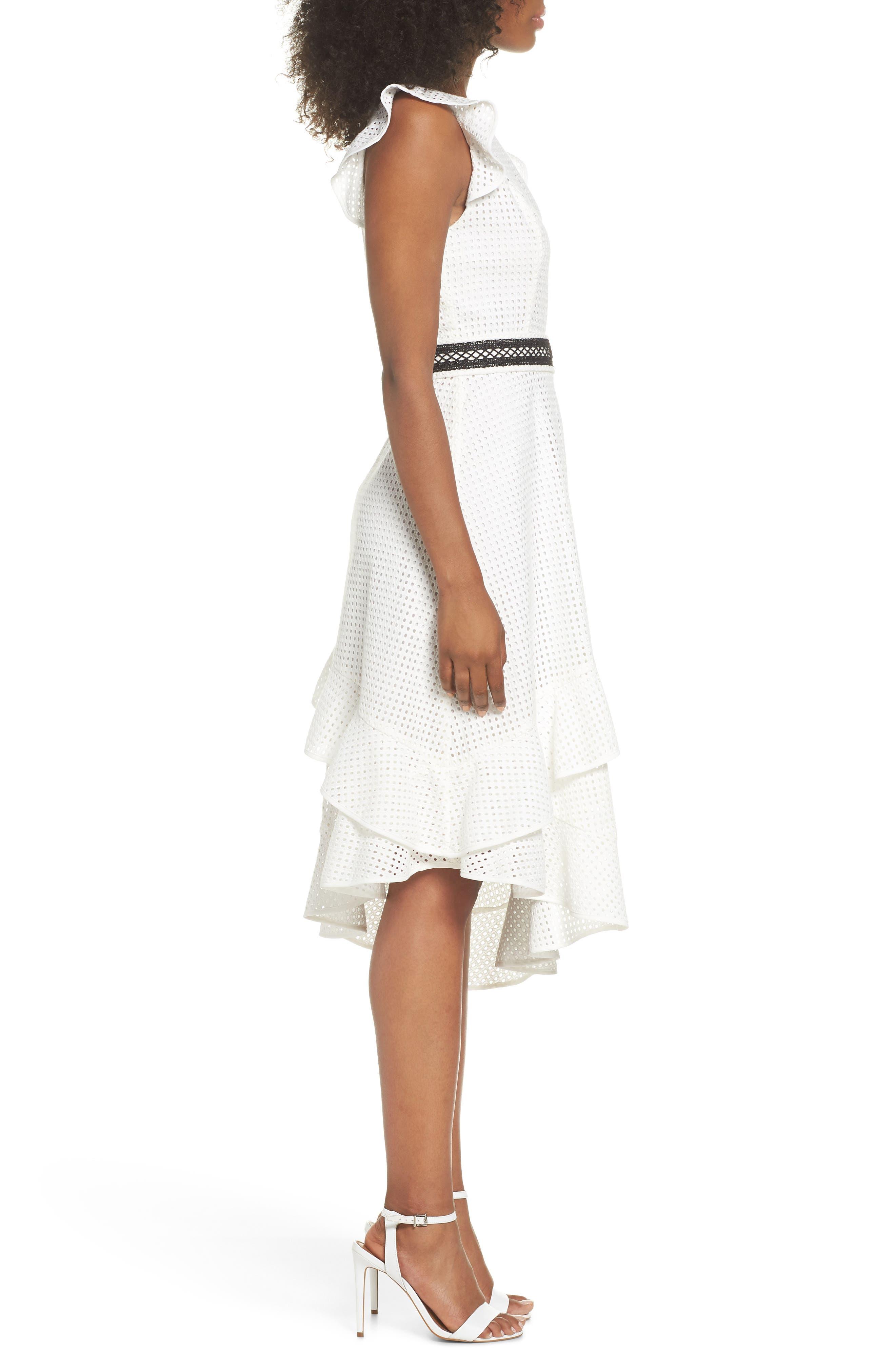 Asymmetrical Hem Dress,                             Alternate thumbnail 3, color,                             White