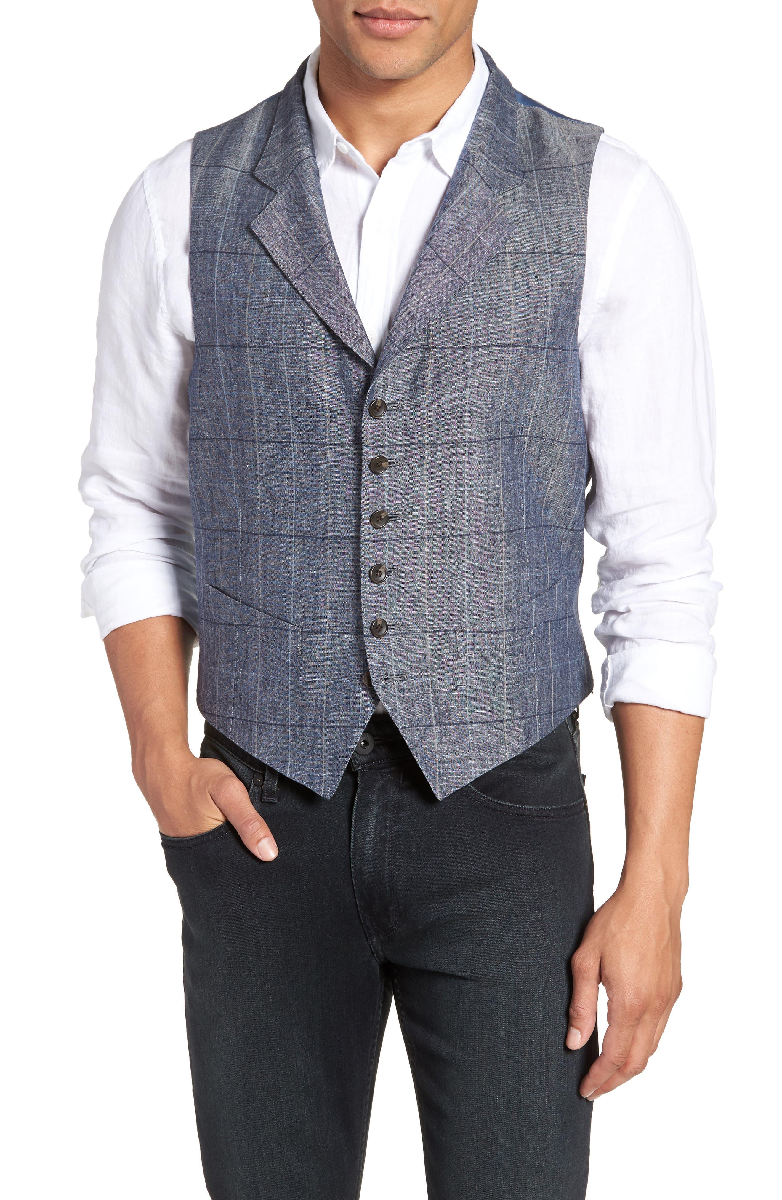 Stag Trim Fit Windowpane Linen Vest,                         Main,                         color, Blue Graphite