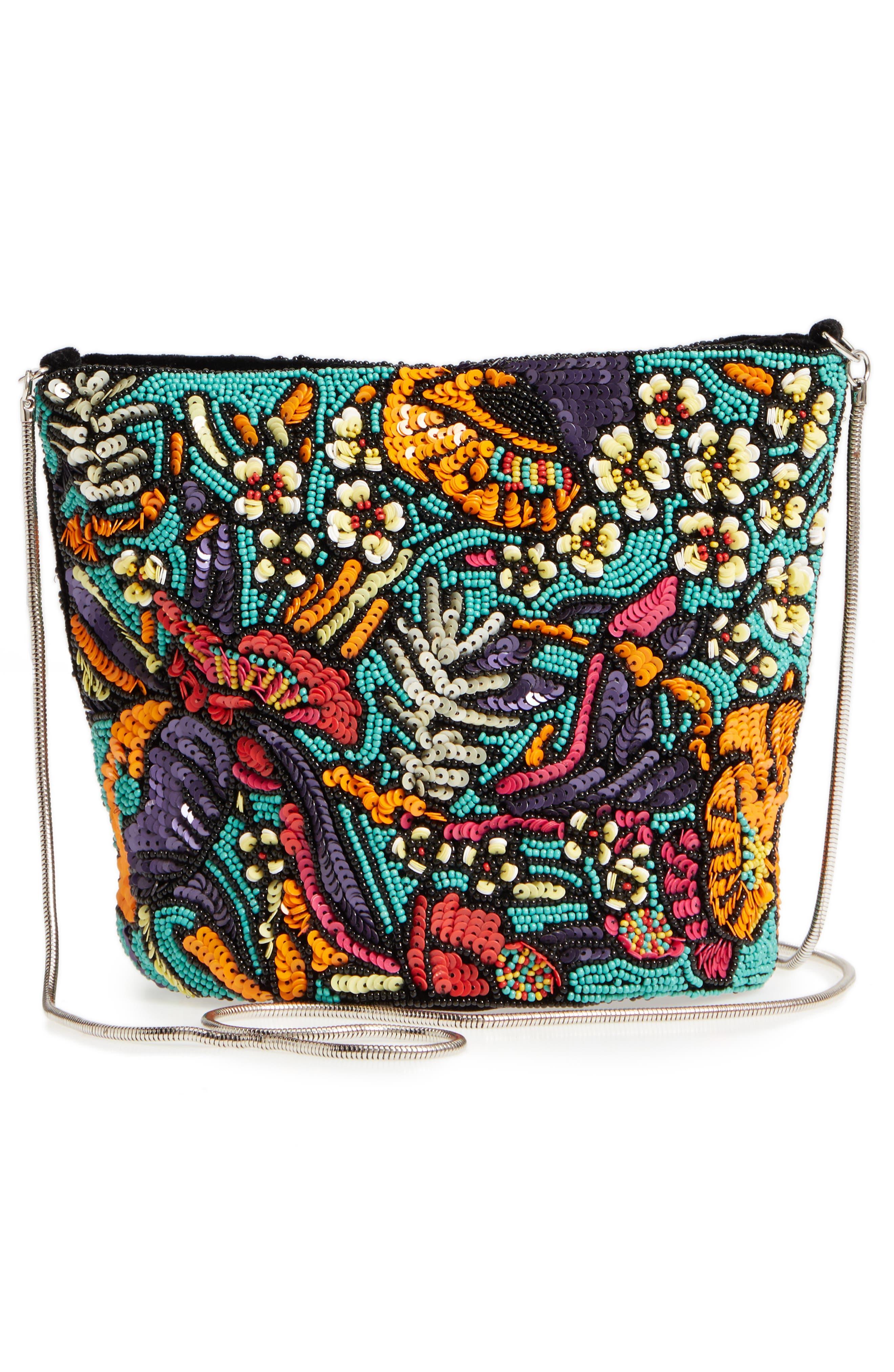 Kipp Beaded Shoulder Bag,                             Alternate thumbnail 3, color,                             Black Multi