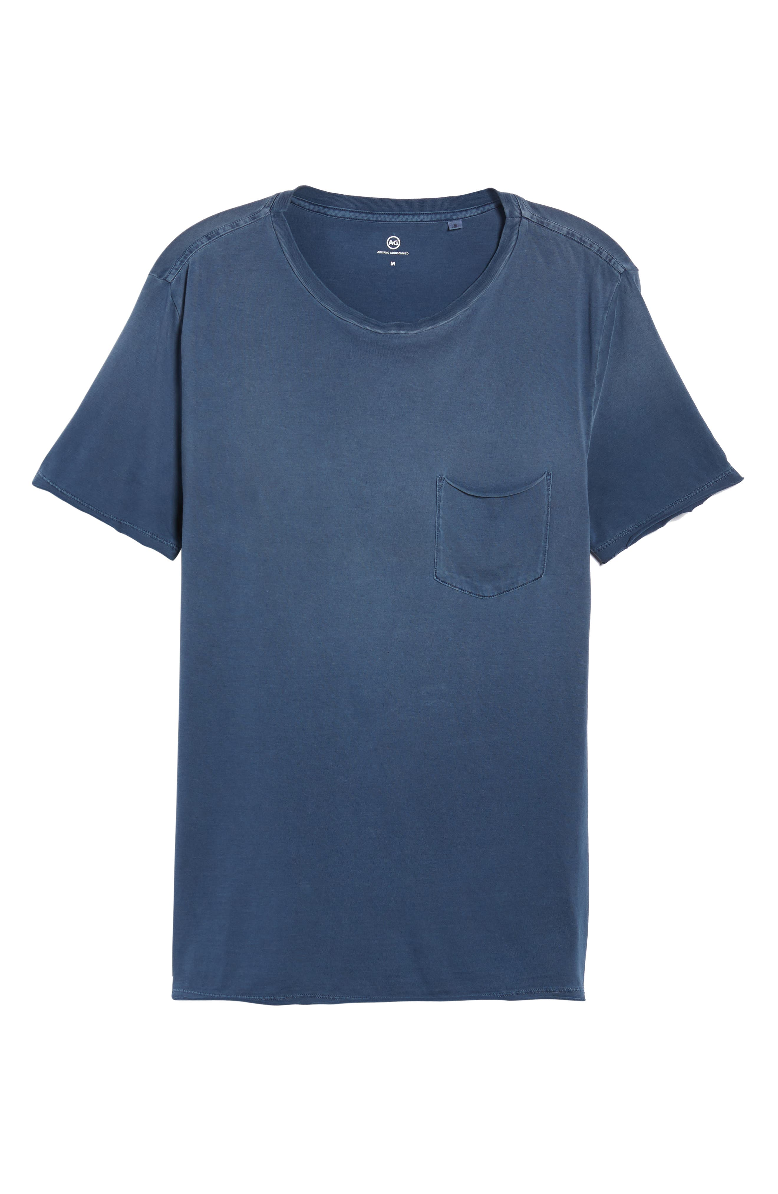 Anders Slim Fit Pocket T-Shirt,                             Alternate thumbnail 4, color,                             Sun Faded Blue Plume