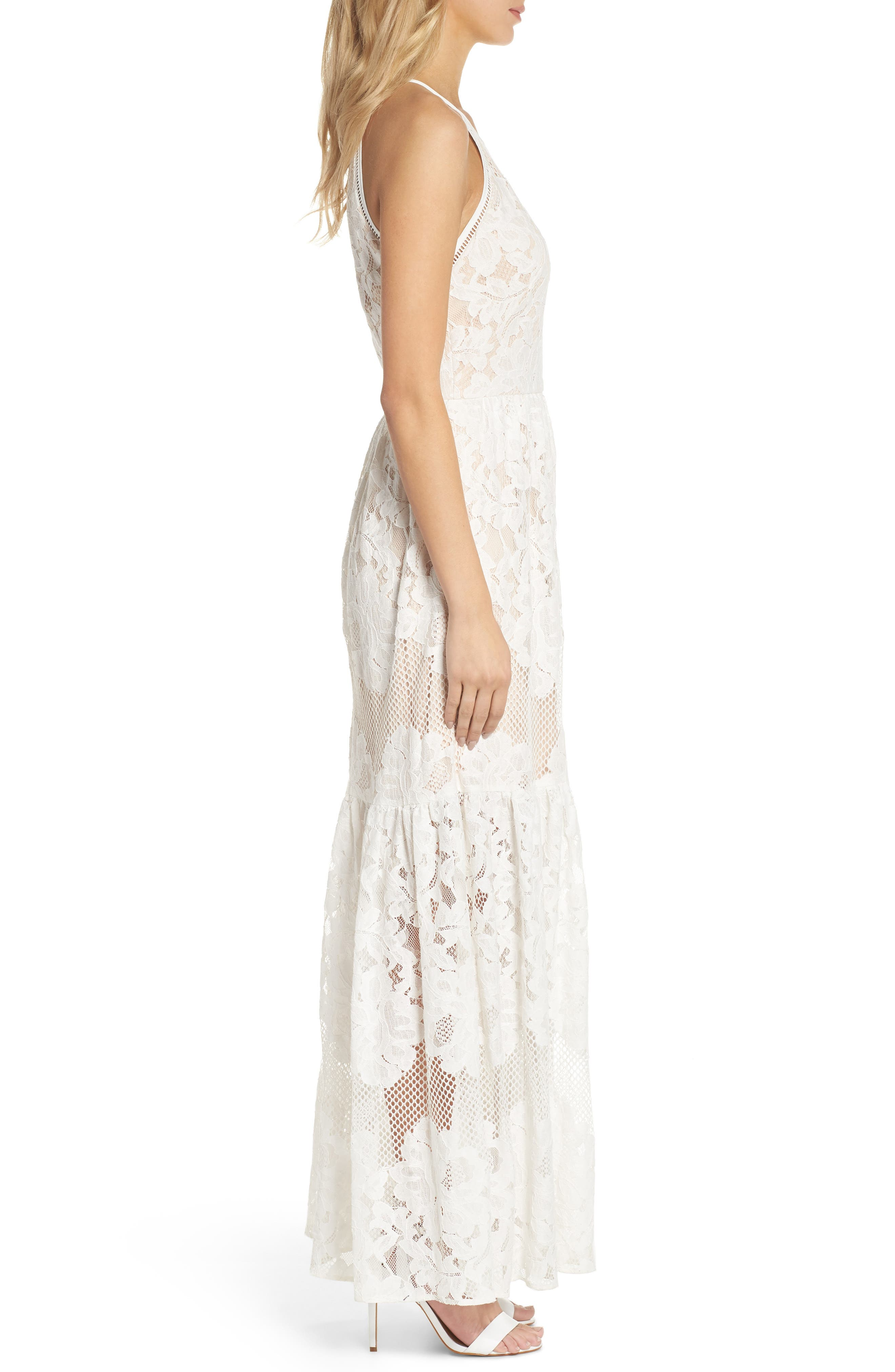 Front Slit Lace Maxi Dress,                             Alternate thumbnail 3, color,                             Ivory