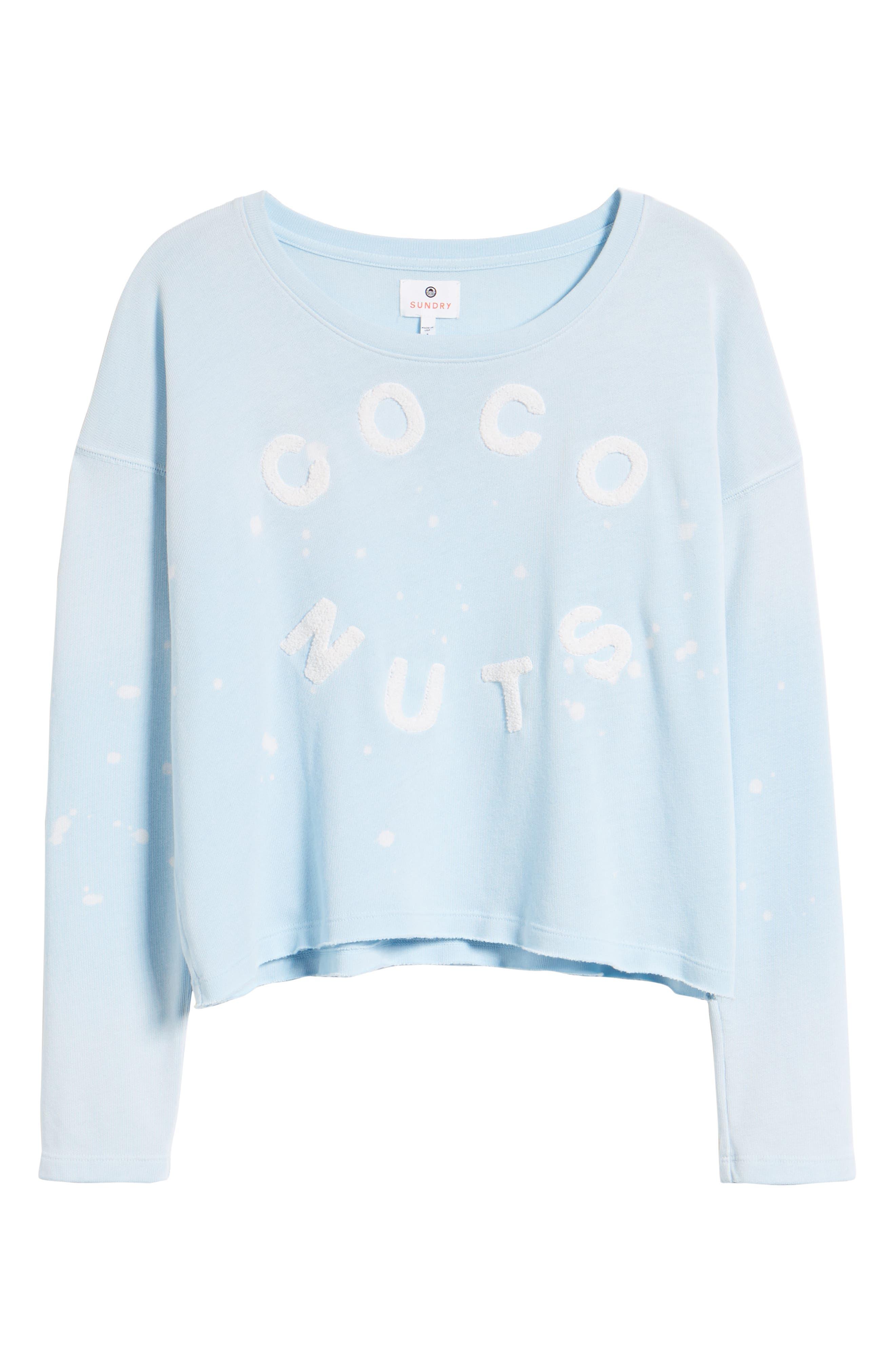 Coco Nuts Light Fleece Sweatshirt,                             Alternate thumbnail 7, color,                             Sun Faded Sky