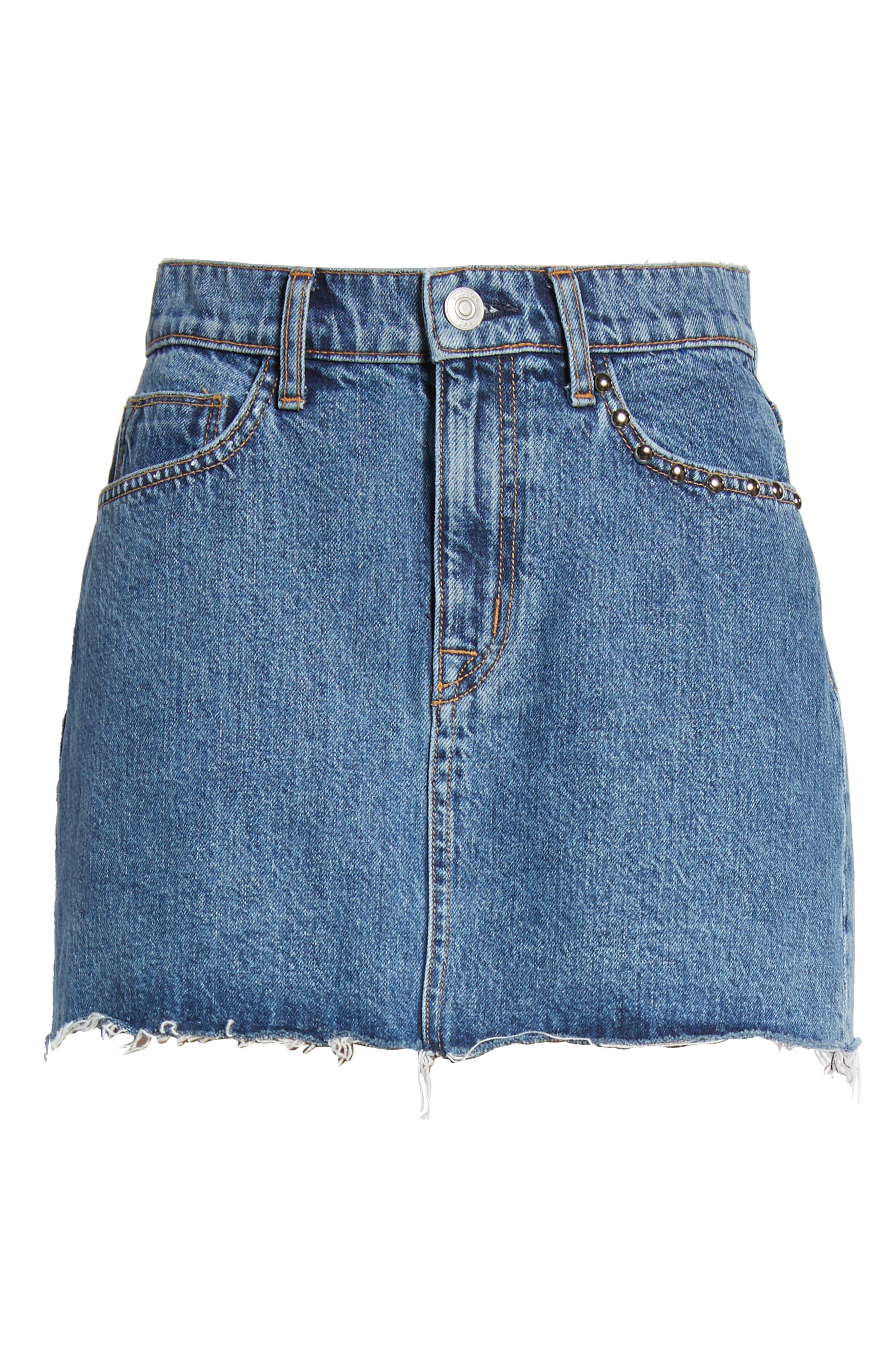 The Viper Cutoff Denim Miniskirt,                             Alternate thumbnail 7, color,                             Vibrant Life