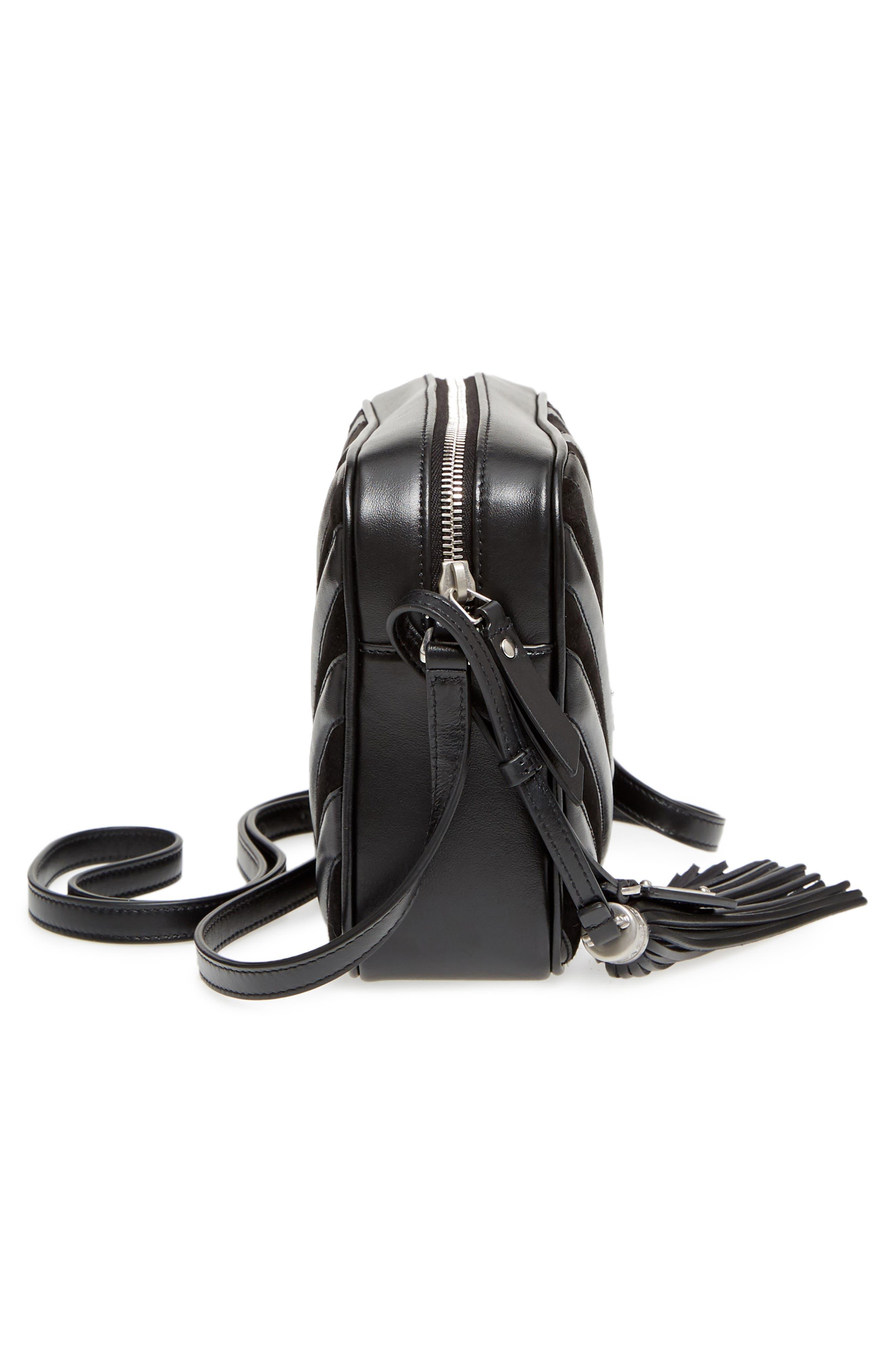 Medium Lou Leather & Suede Camera Bag,                             Alternate thumbnail 5, color,                             Noir