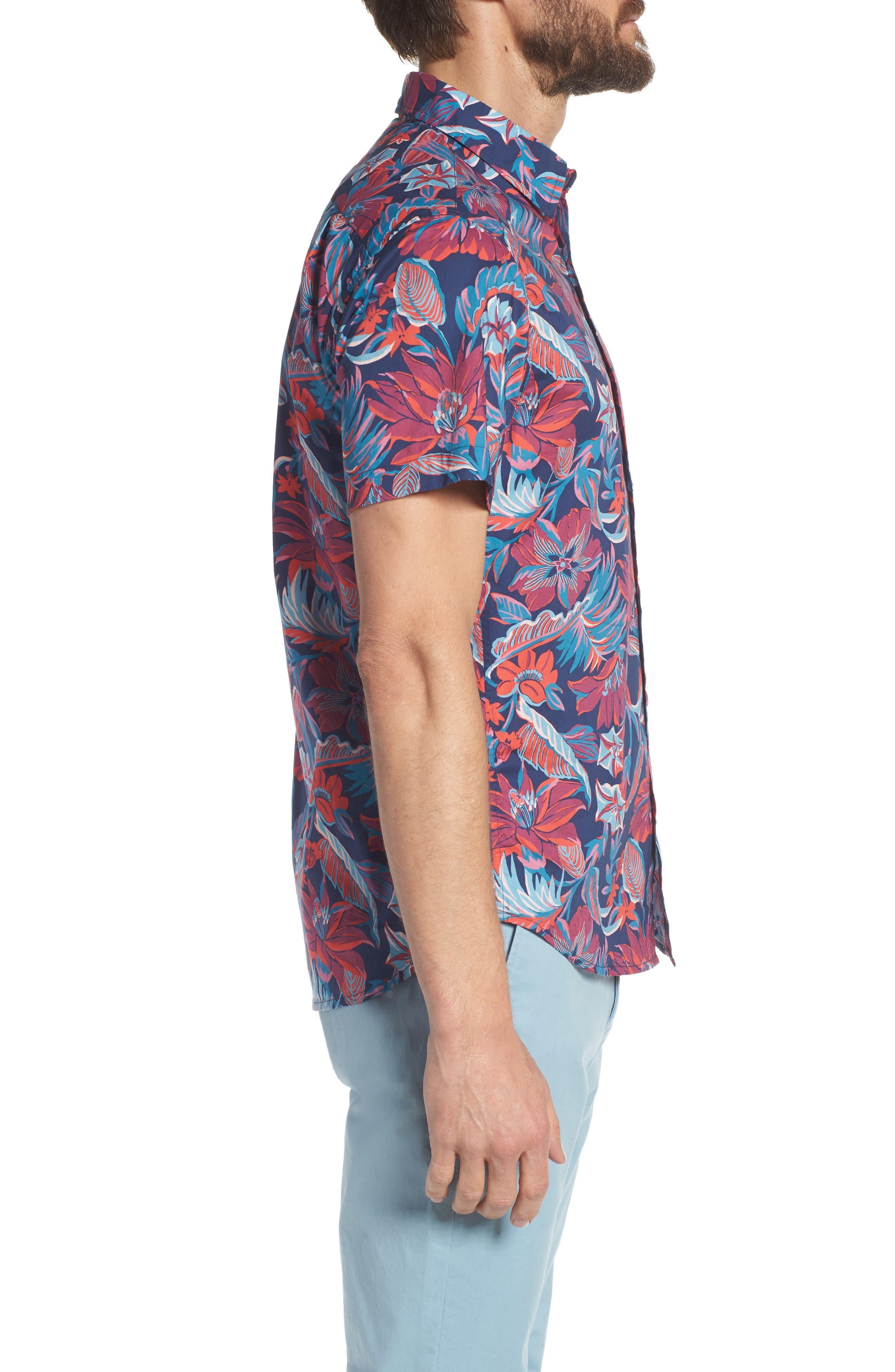 Slim Fit Print Sport Shirt,                             Alternate thumbnail 4, color,                             Pavilion Floral - Deep Pacific