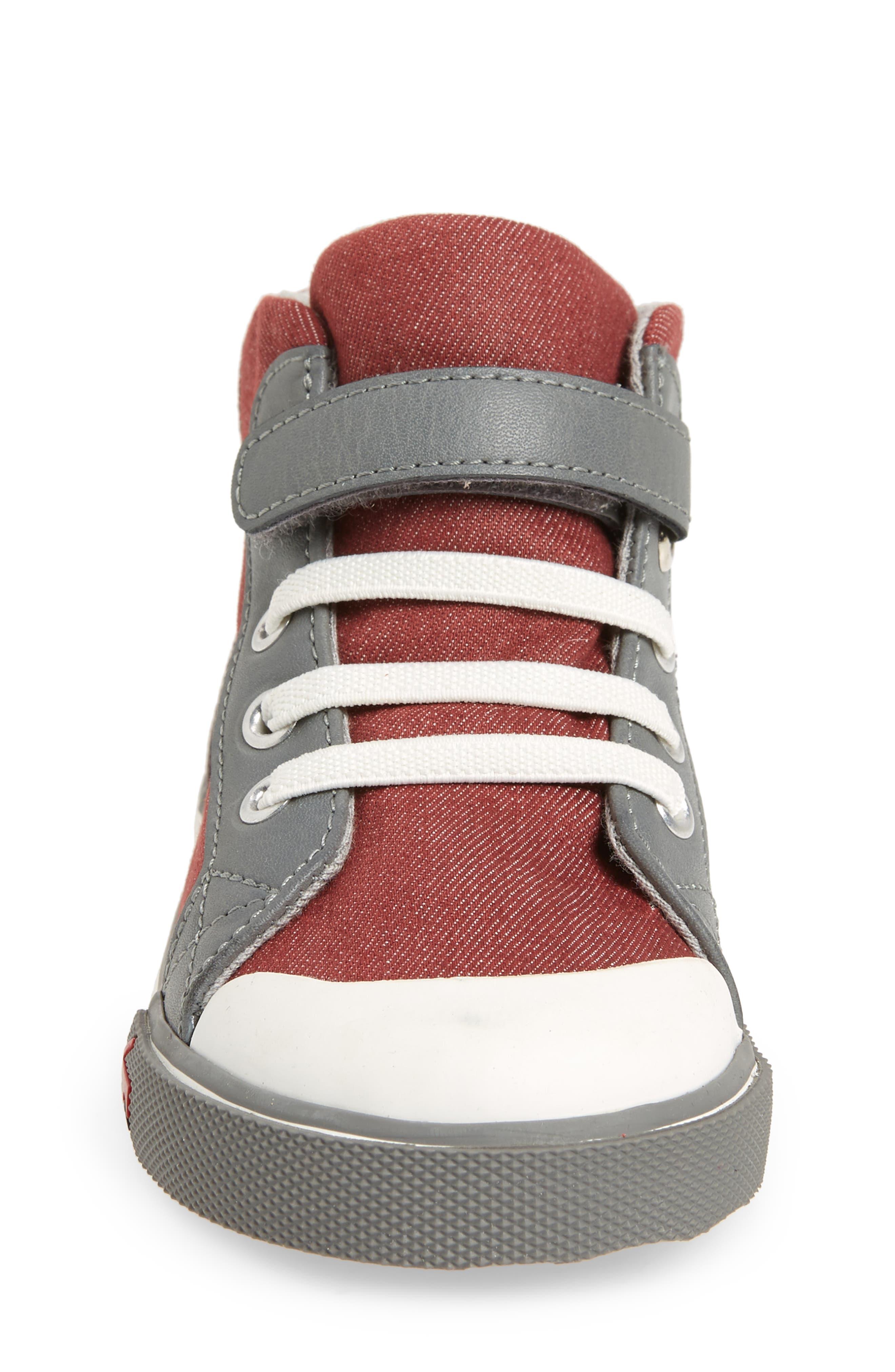 'Dane' Sneaker,                             Alternate thumbnail 4, color,                             Burgundy Denim