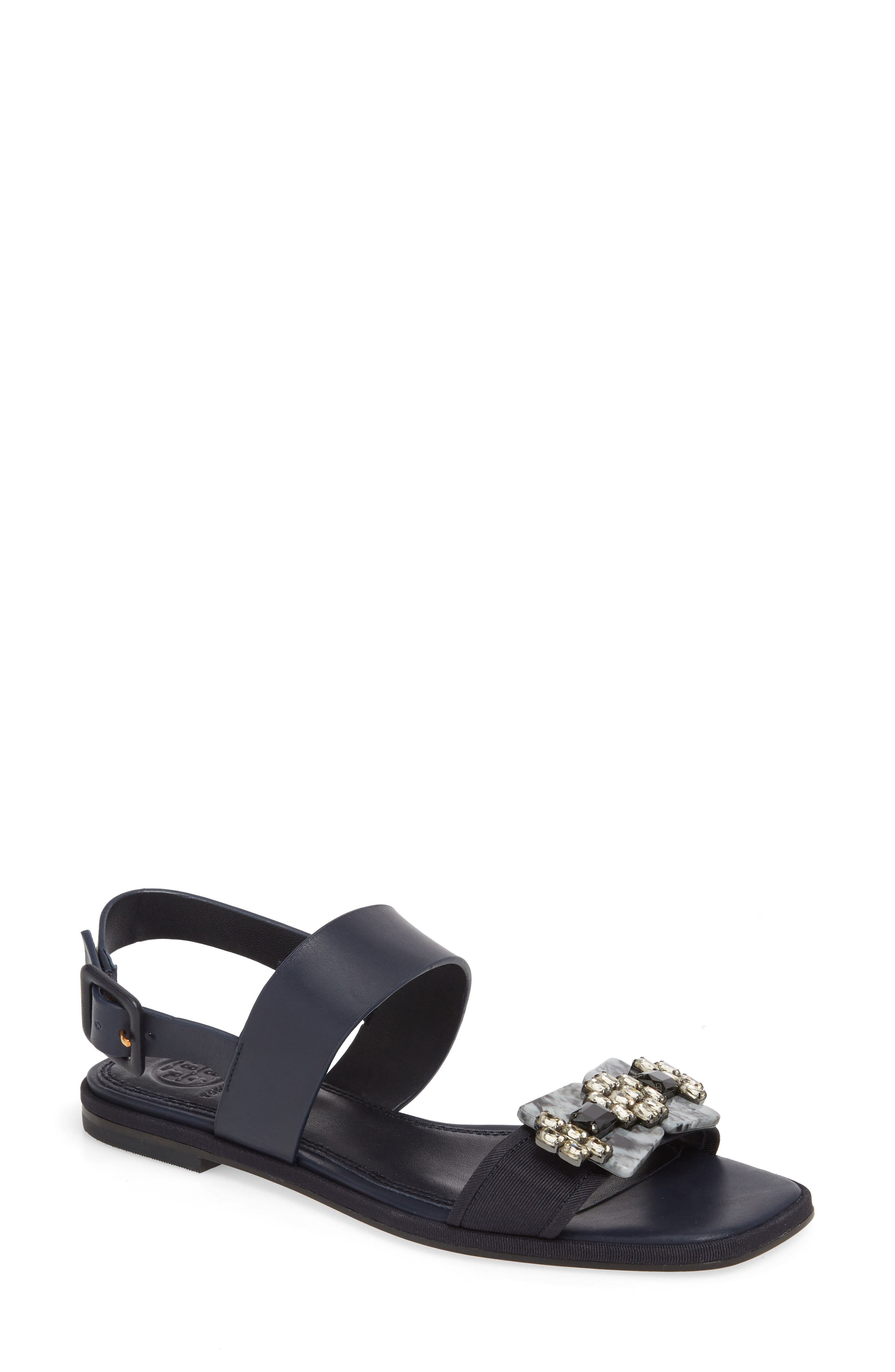 Delaney Embellished Double Strap Sandal,                             Main thumbnail 1, color,                             Perfect Navy/ Perfect Navy