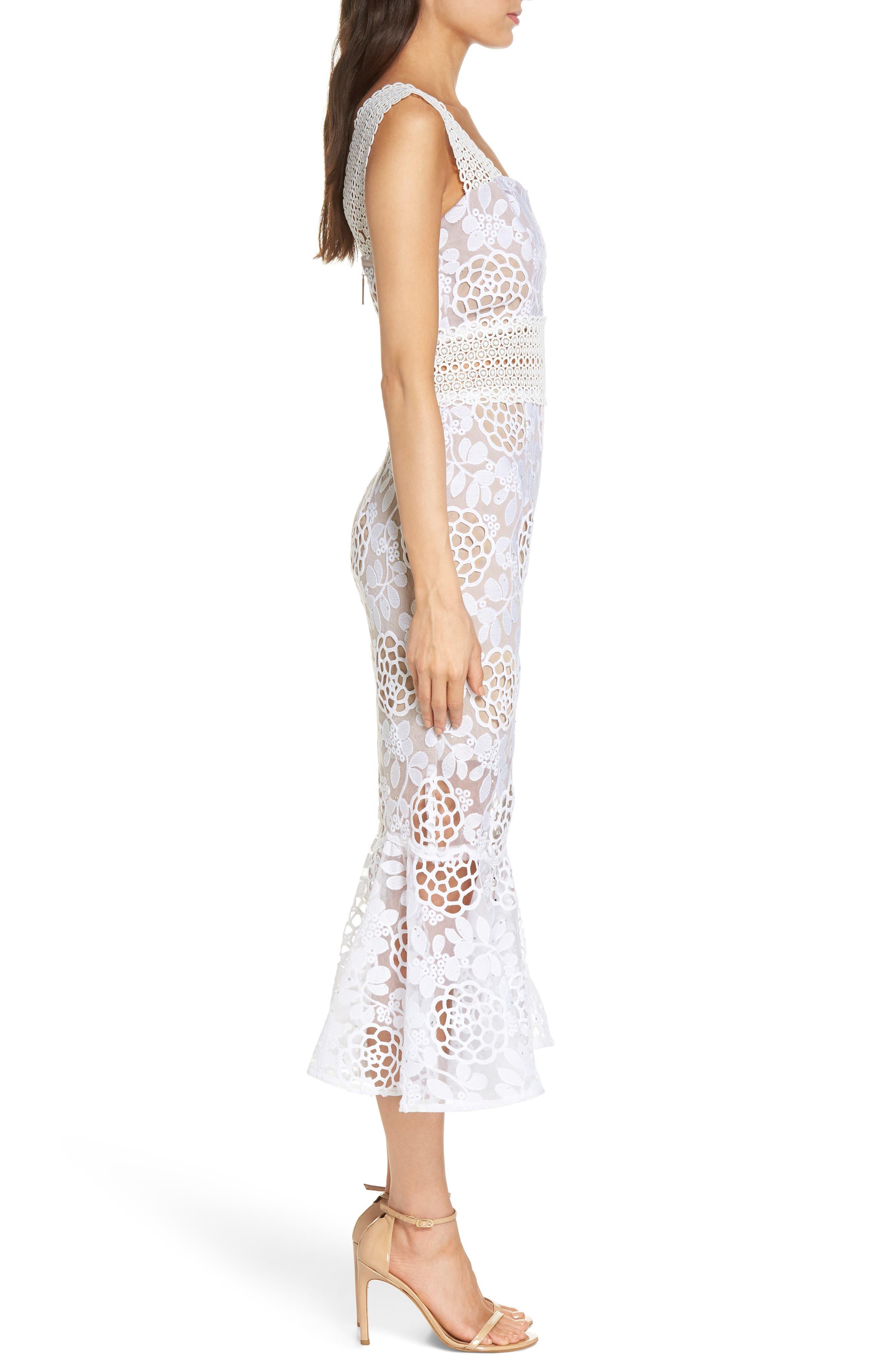 Capri Floral Lace Midi Dress,                             Alternate thumbnail 3, color,                             White