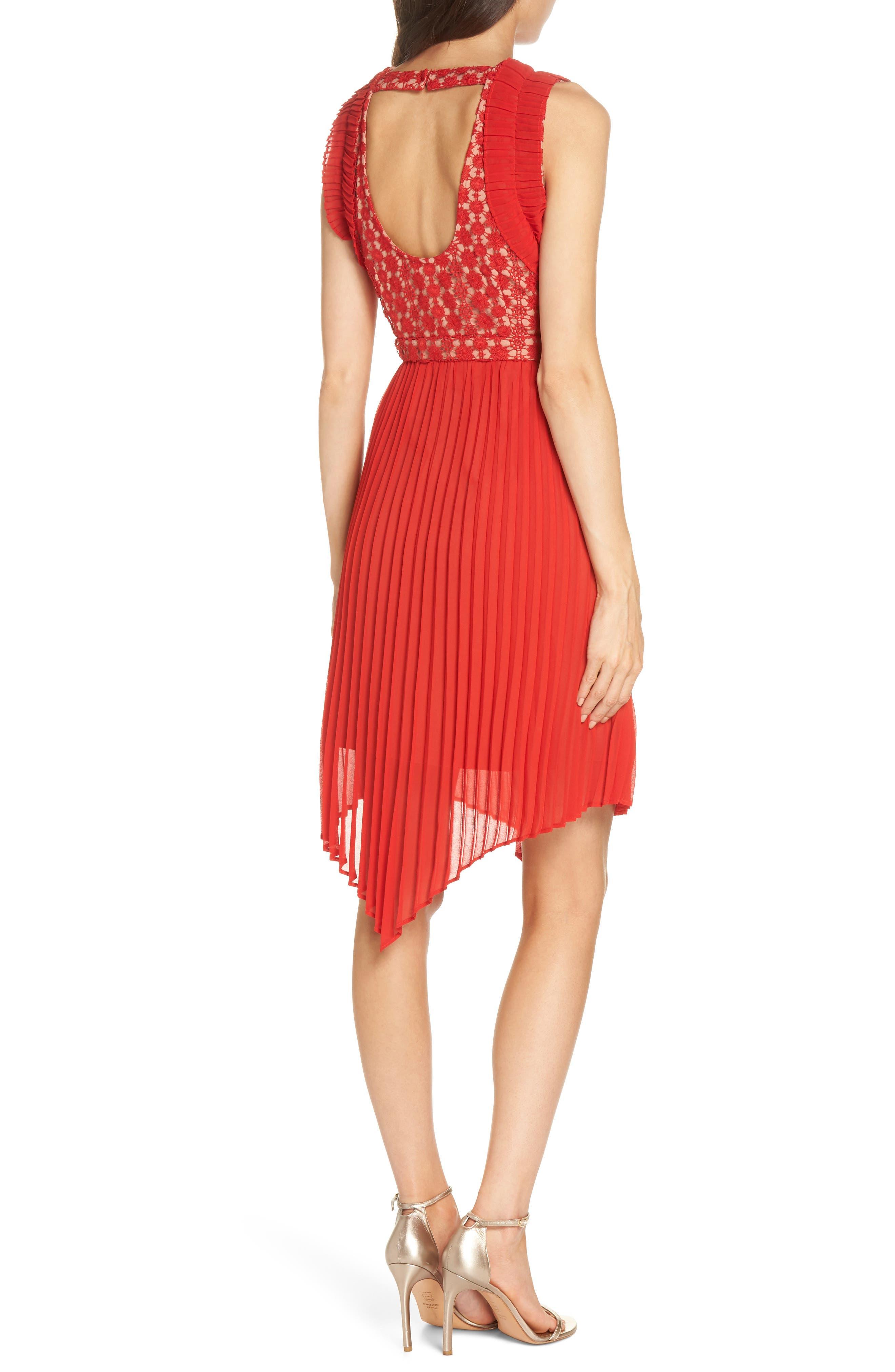 Nealea Pleated Sheath Dress,                             Alternate thumbnail 3, color,                             Red