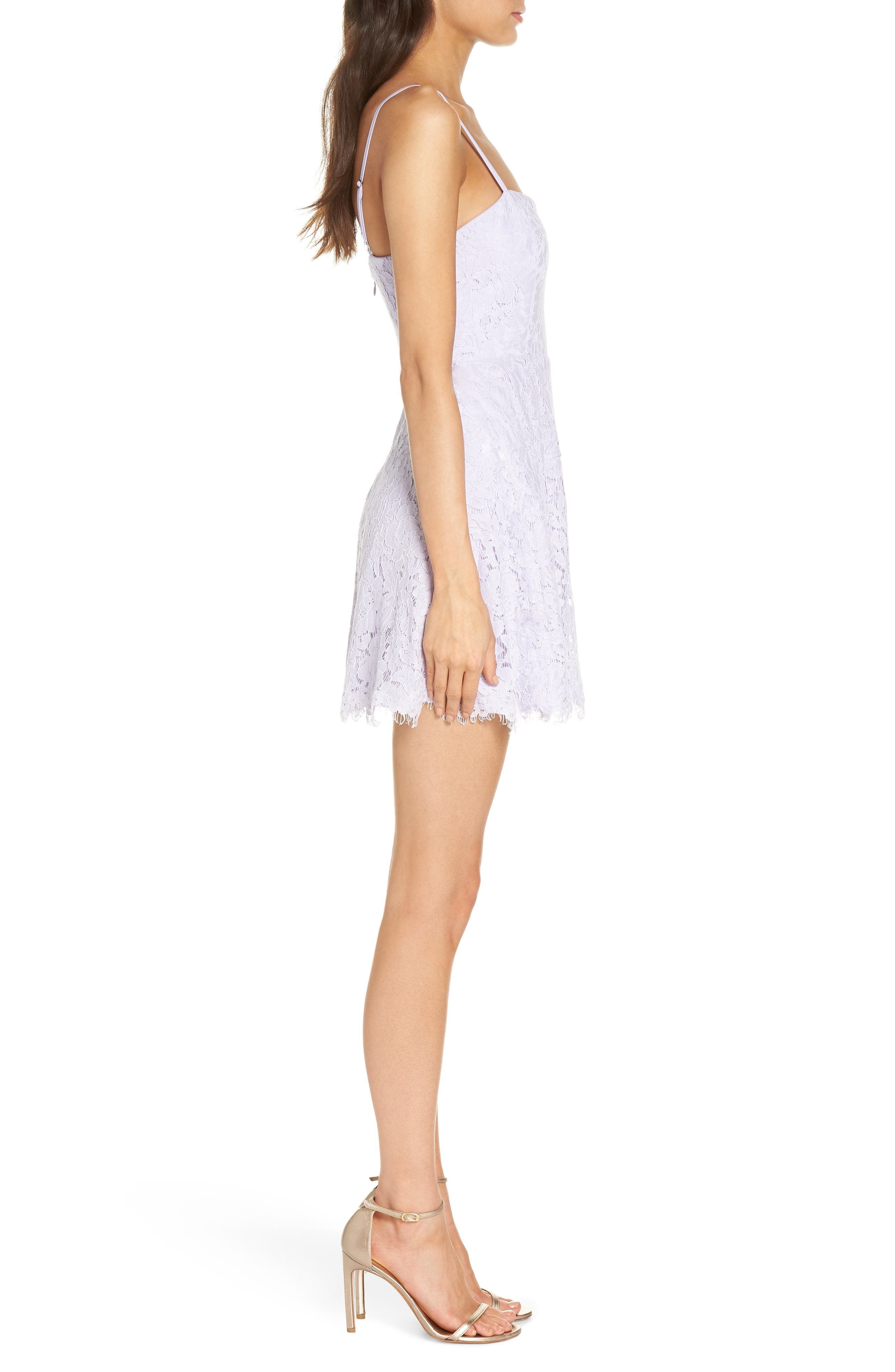 The Fiona Lace Minidress,                             Alternate thumbnail 3, color,                             Lilac