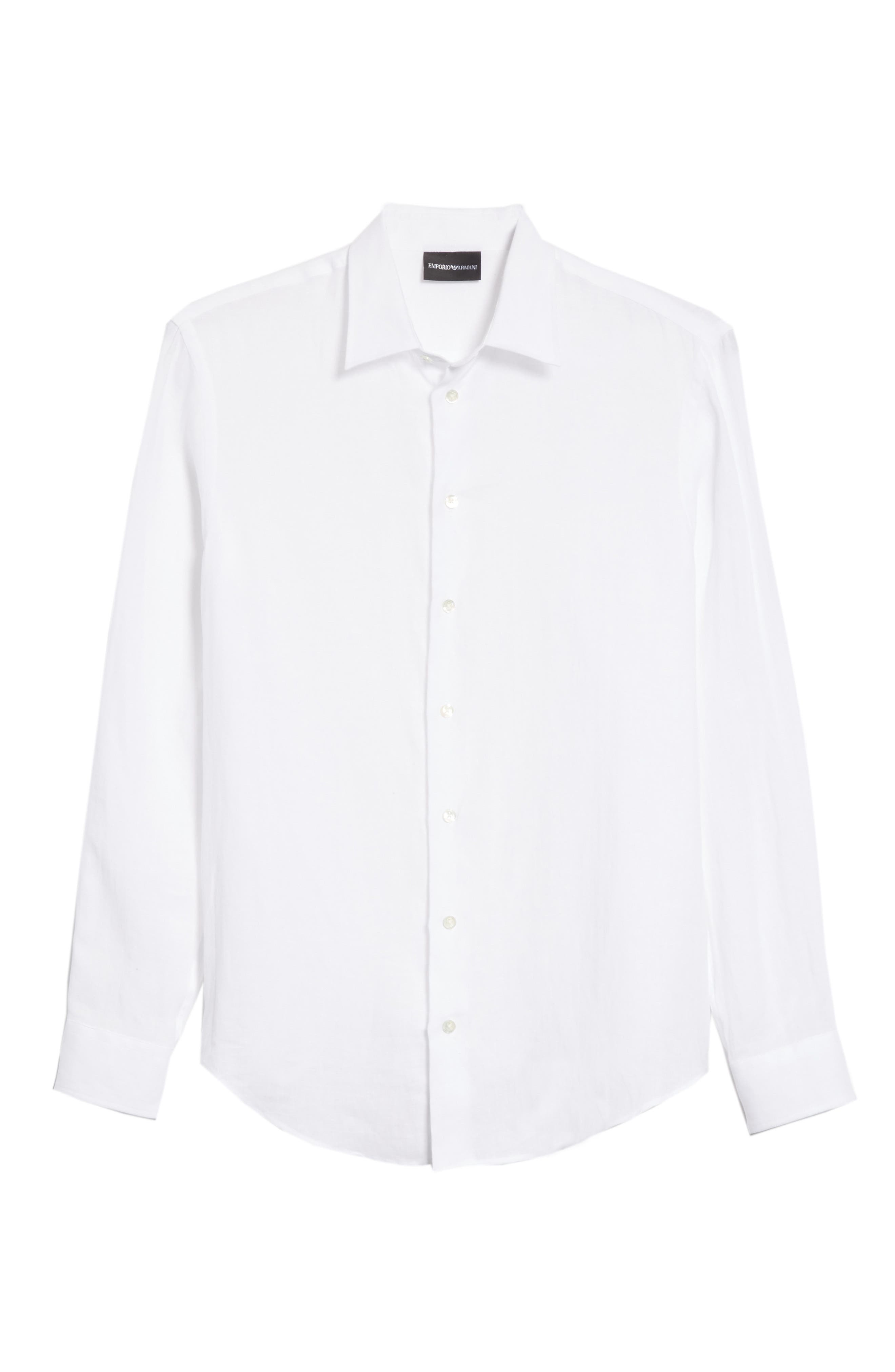Regular Fit Linen Dress Shirt,                             Alternate thumbnail 6, color,                             White
