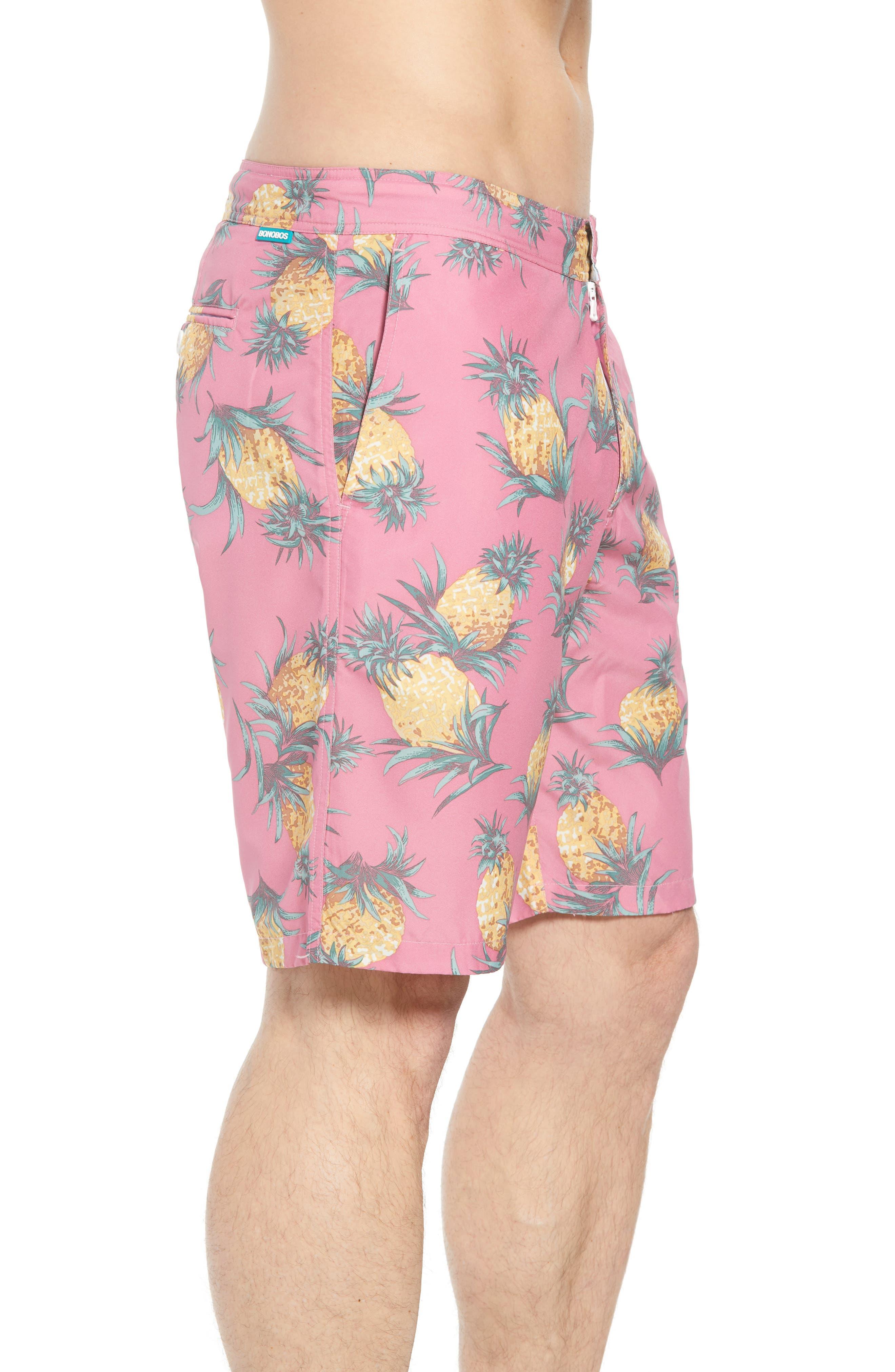Banzai 9-Inch Swim Trunks,                             Alternate thumbnail 3, color,                             Pineapples Print