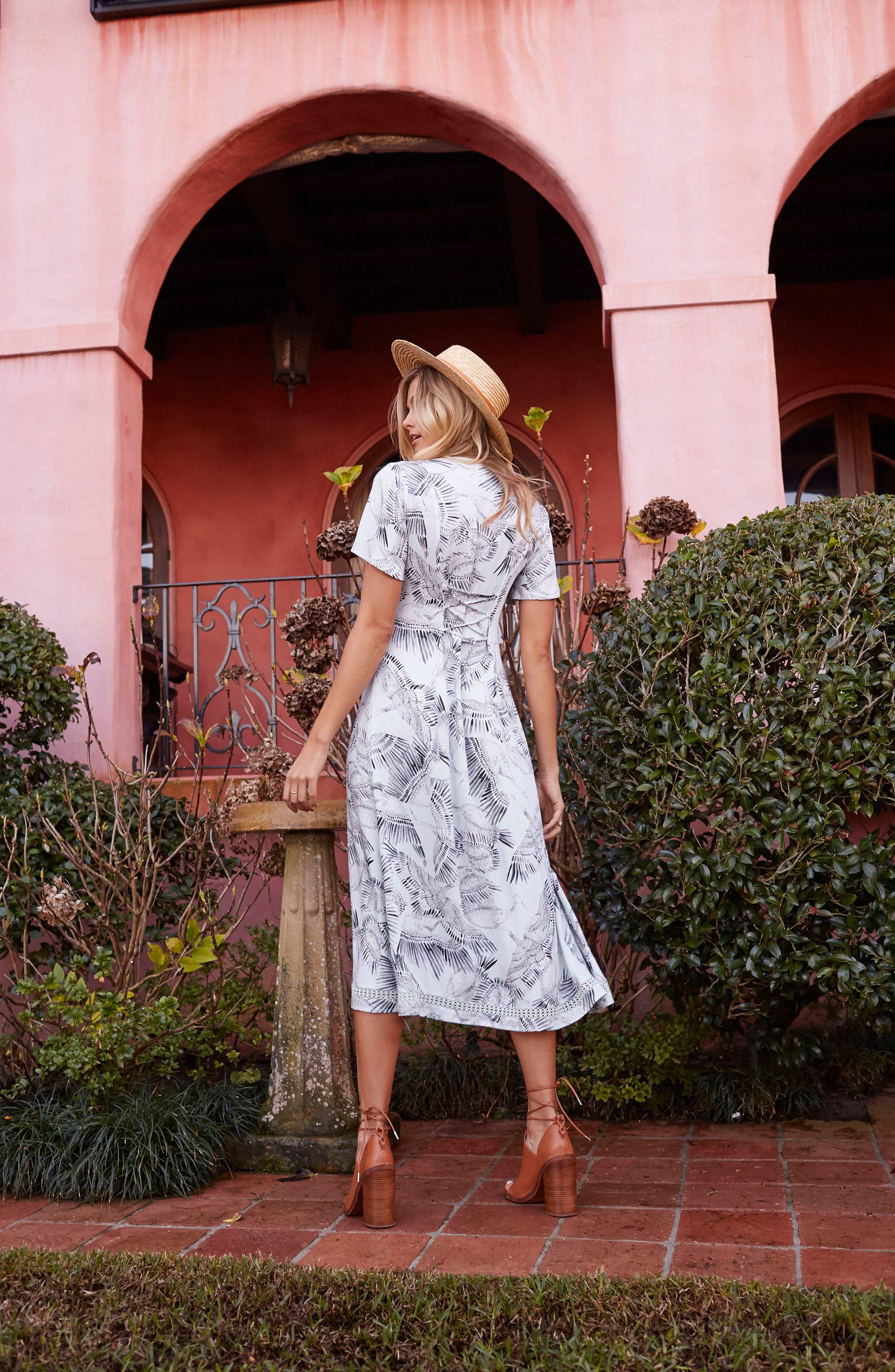 Taking Flight Midi Dress,                             Alternate thumbnail 8, color,                             Multi Grey