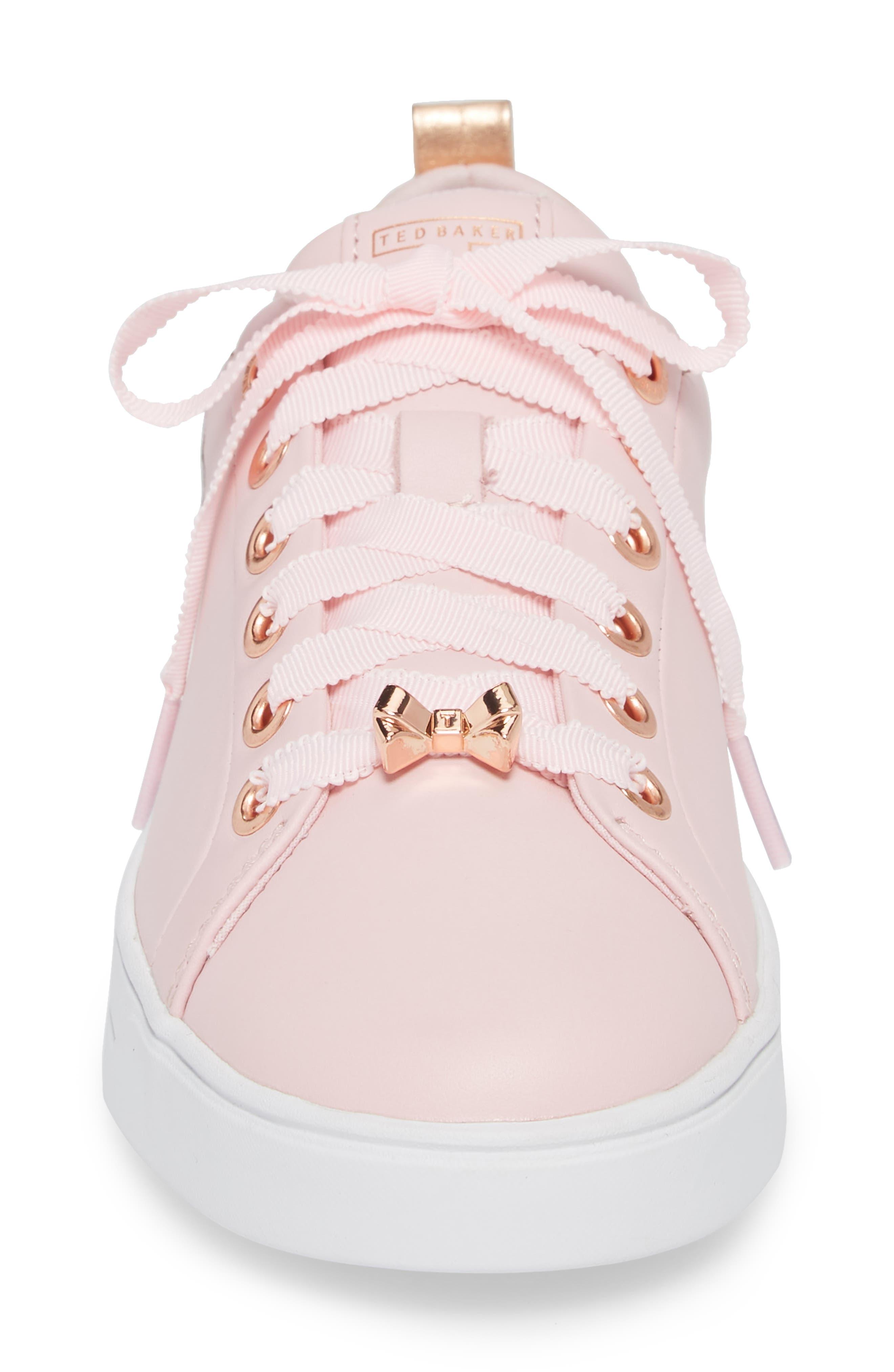 Kelleie Embroidered Sneaker,                             Alternate thumbnail 4, color,                             Mink Pink Leather
