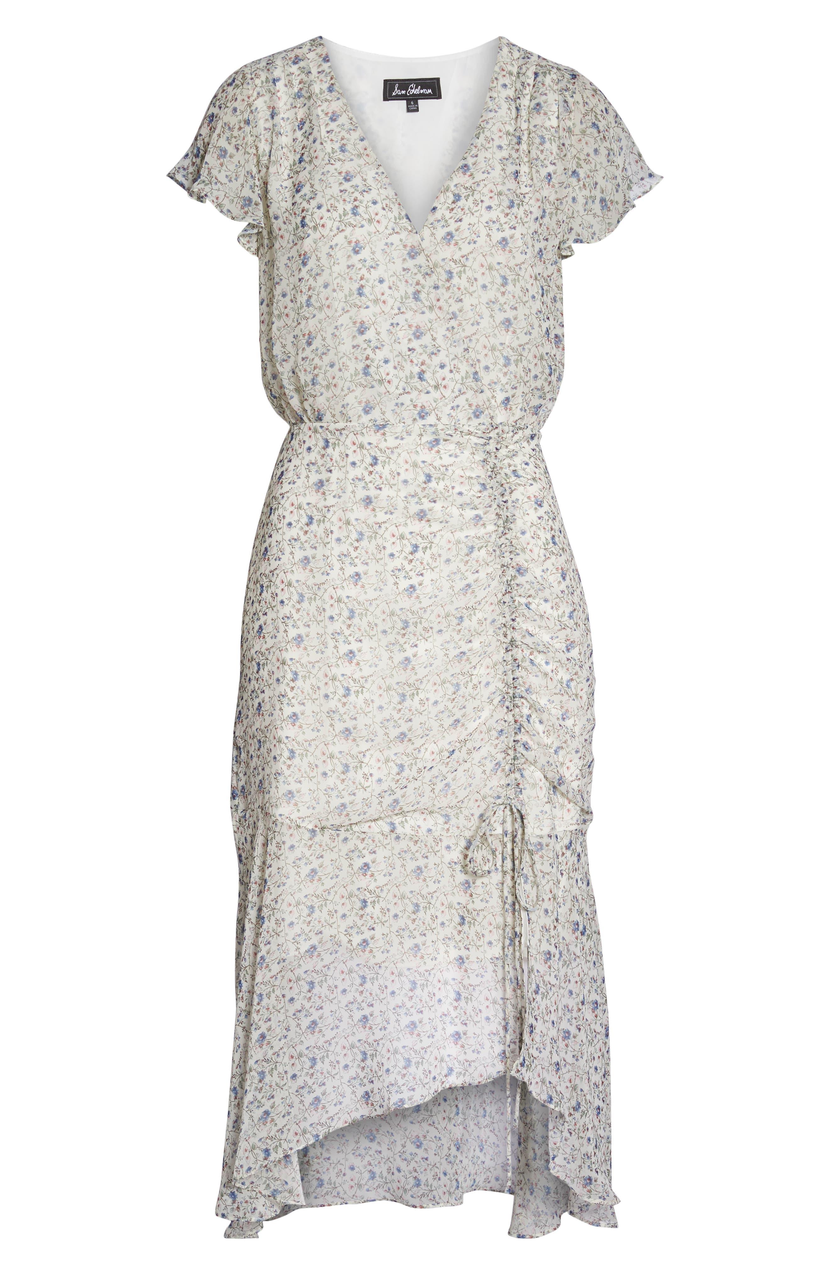Print Ruched Chiffon Midi Dress,                             Alternate thumbnail 7, color,                             Ivory