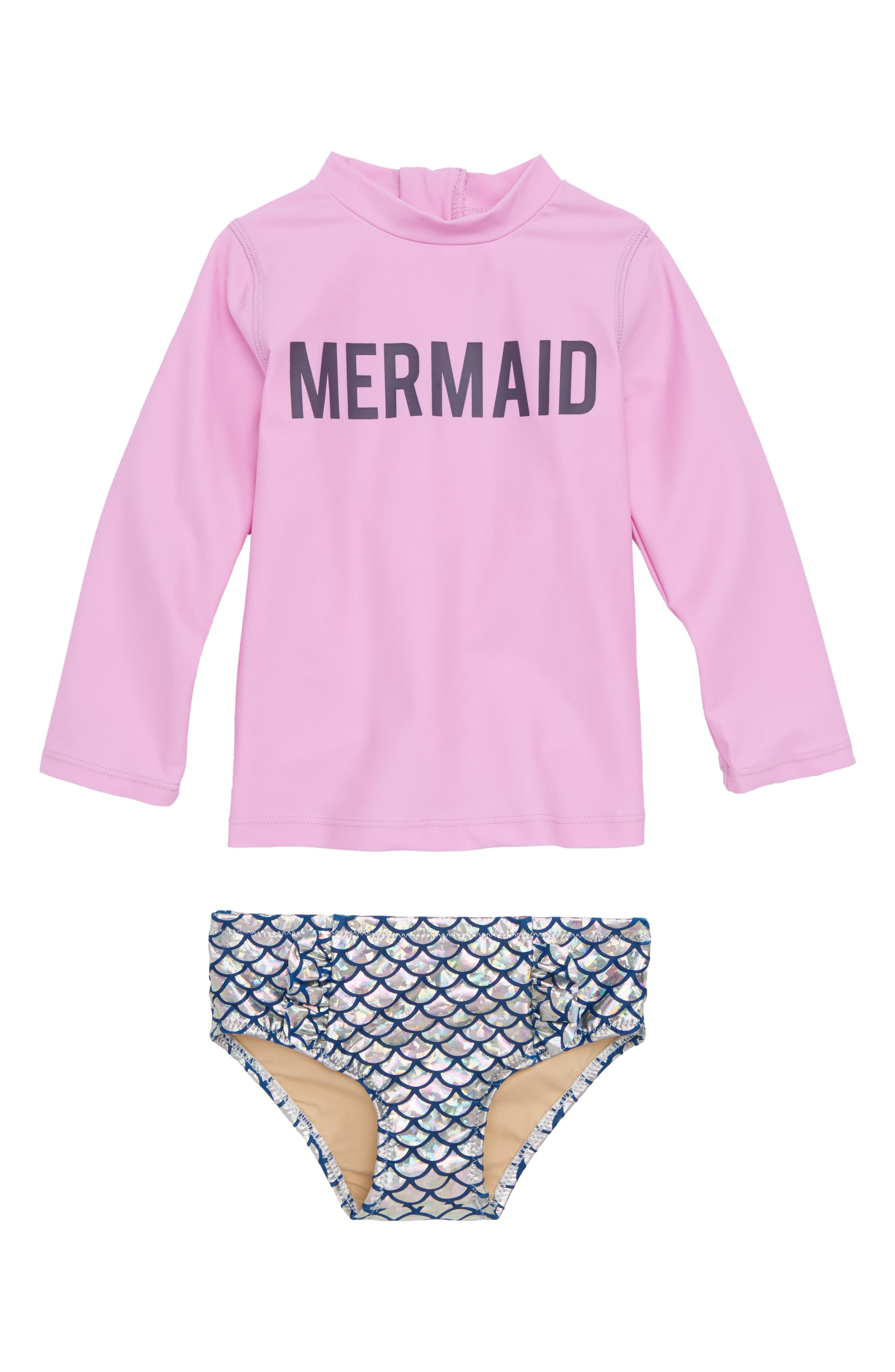 Mermaid Magic Rashguard Two-Piece Swimsuit,                             Main thumbnail 1, color,                             Purple