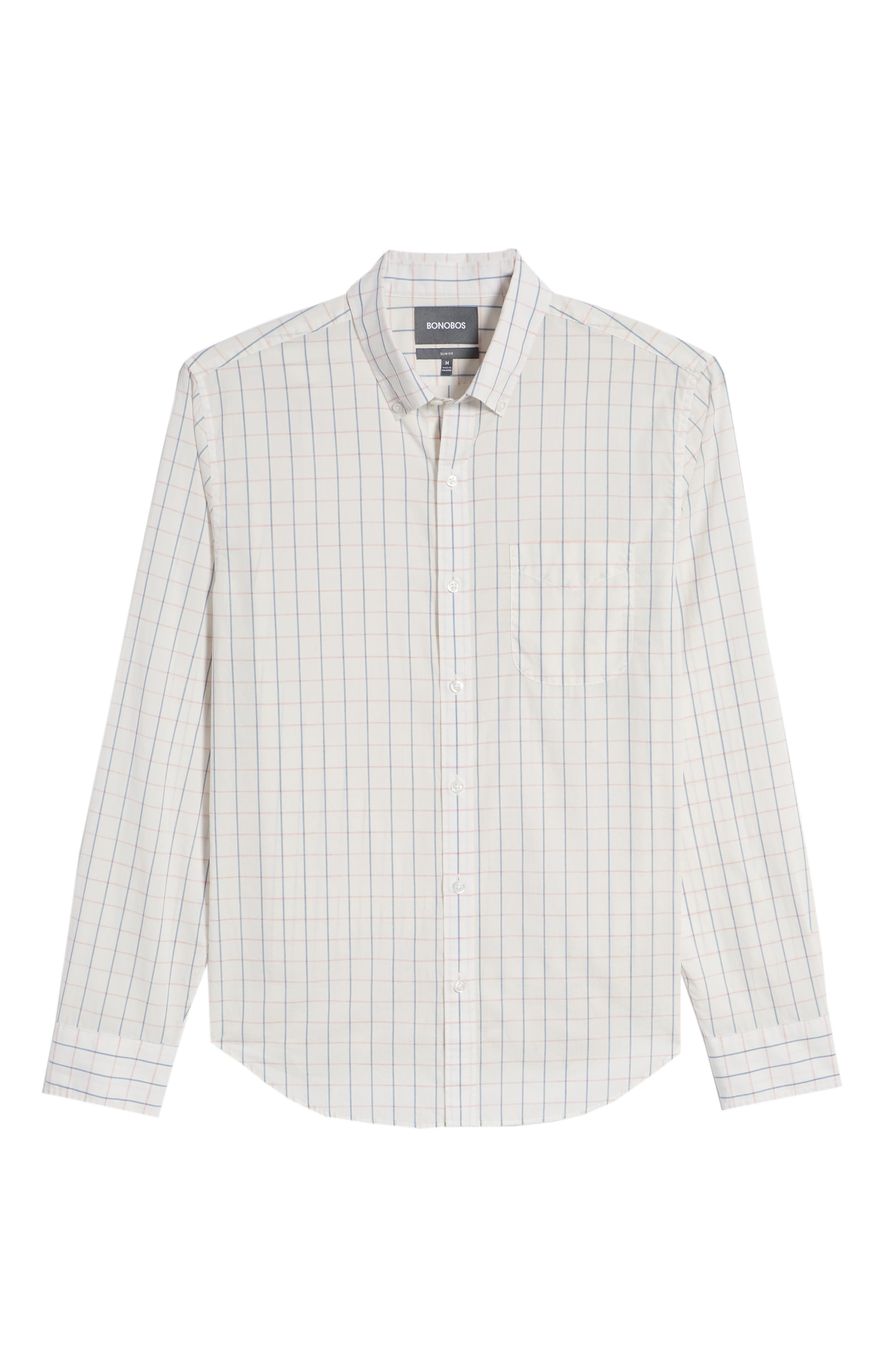 Summerweight Slim Fit Check Sport Shirt,                             Alternate thumbnail 6, color,                             Coyote Check - Heather Rose