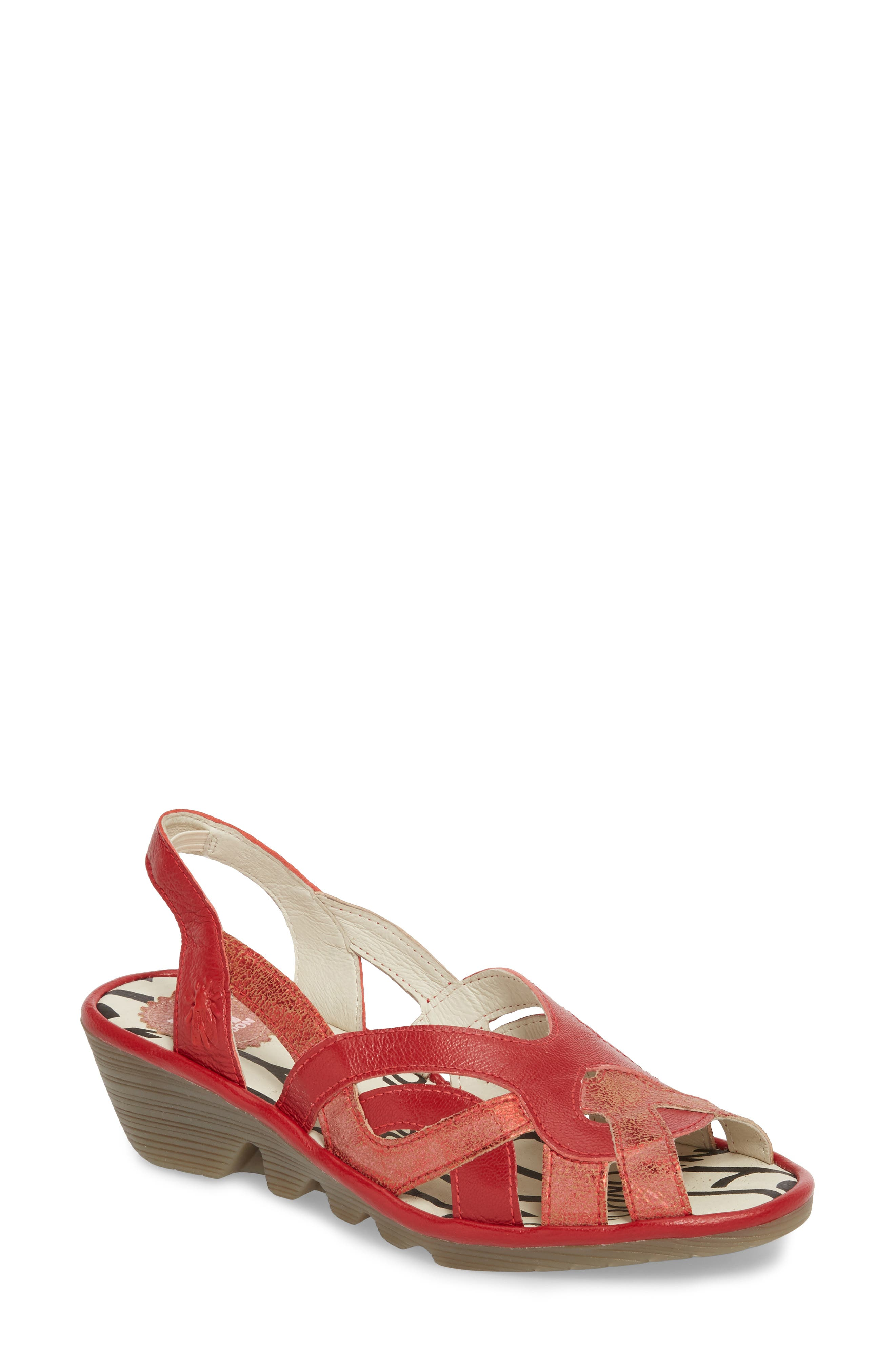 Pima Sandal,                         Main,                         color, Red Mix Leather
