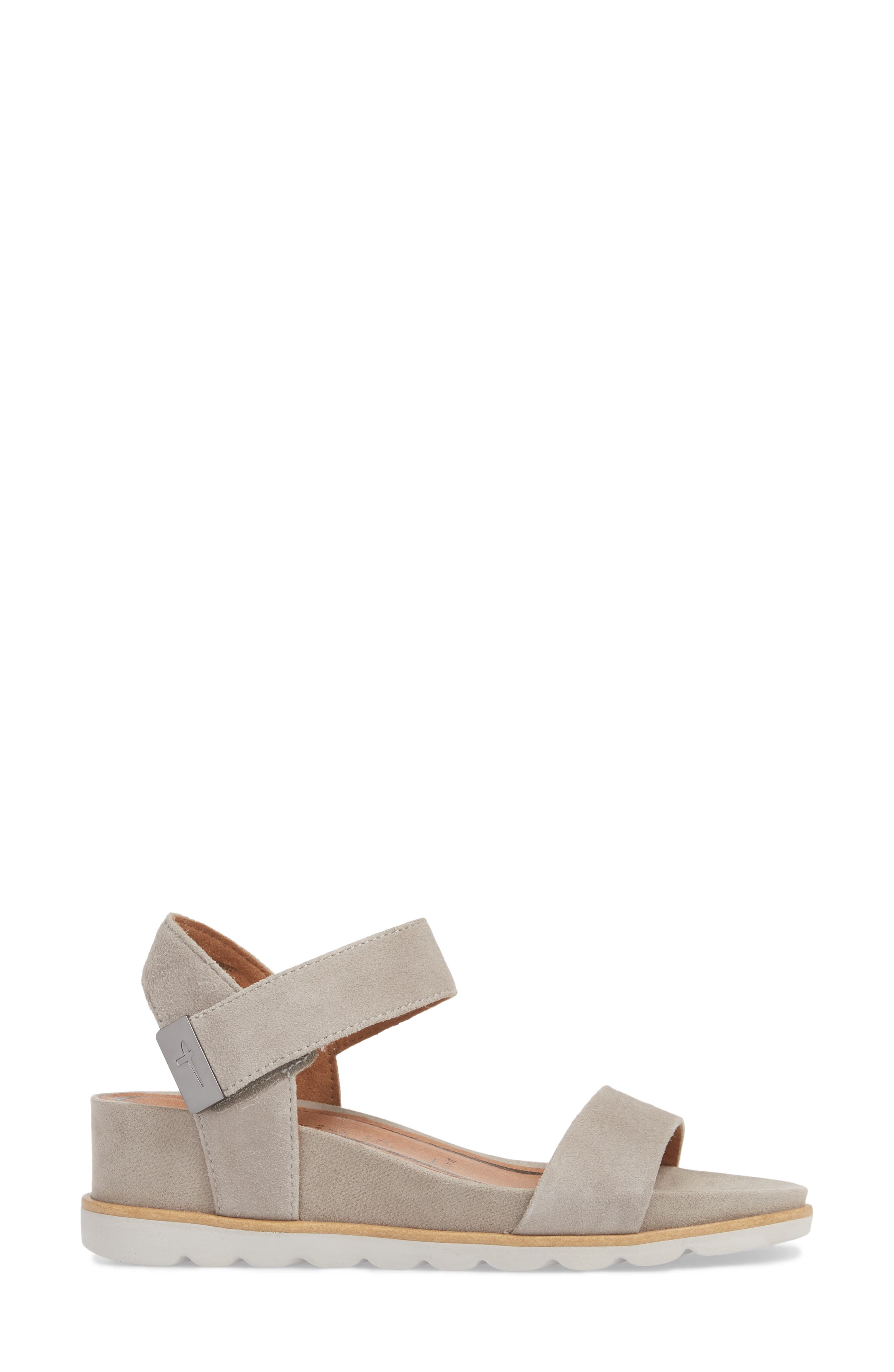 Cory Wedge Sandal,                             Alternate thumbnail 3, color,                             Cloud Suede