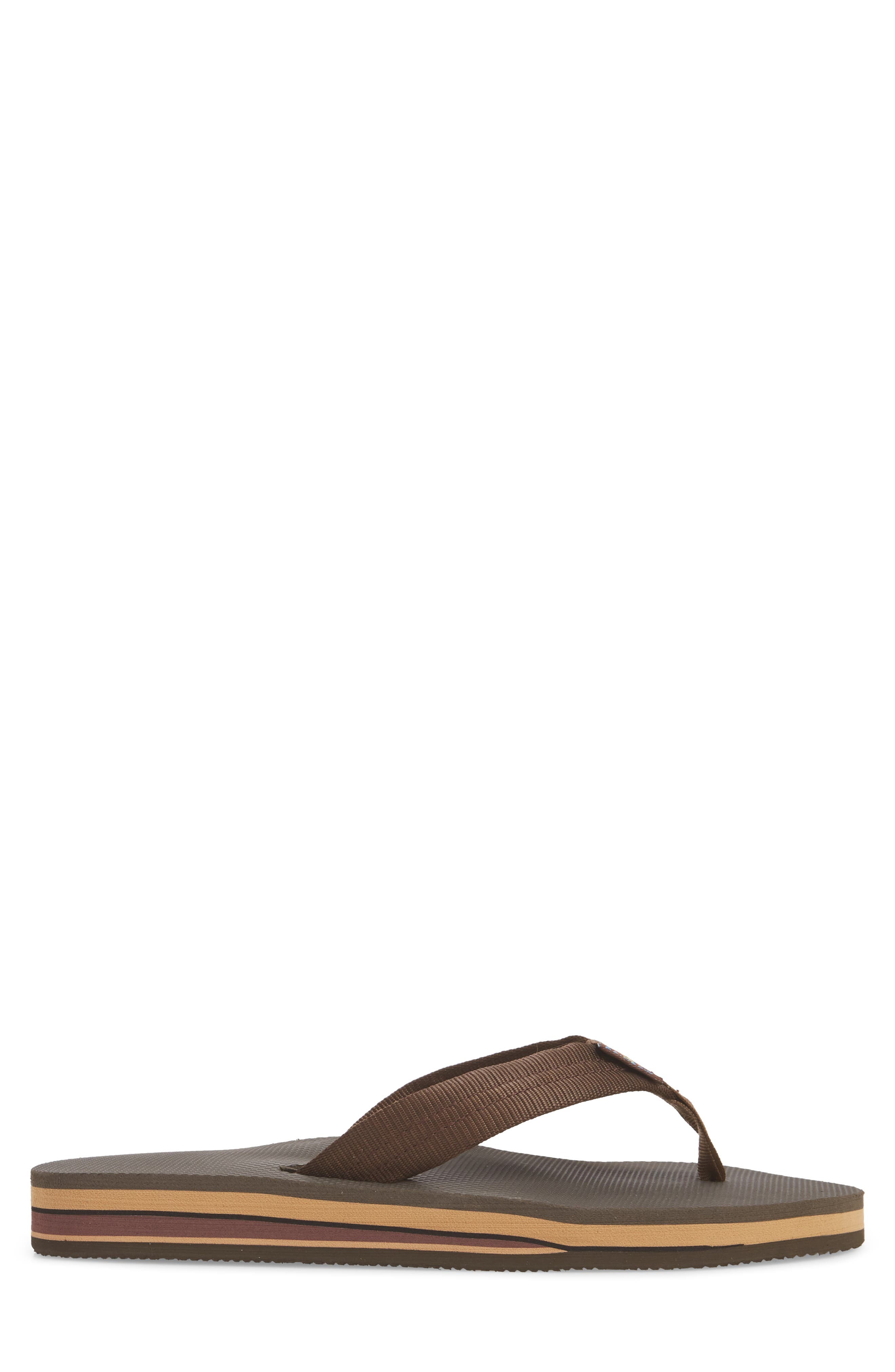Double Layer Classic Flip Flop,                             Alternate thumbnail 3, color,                             Brown