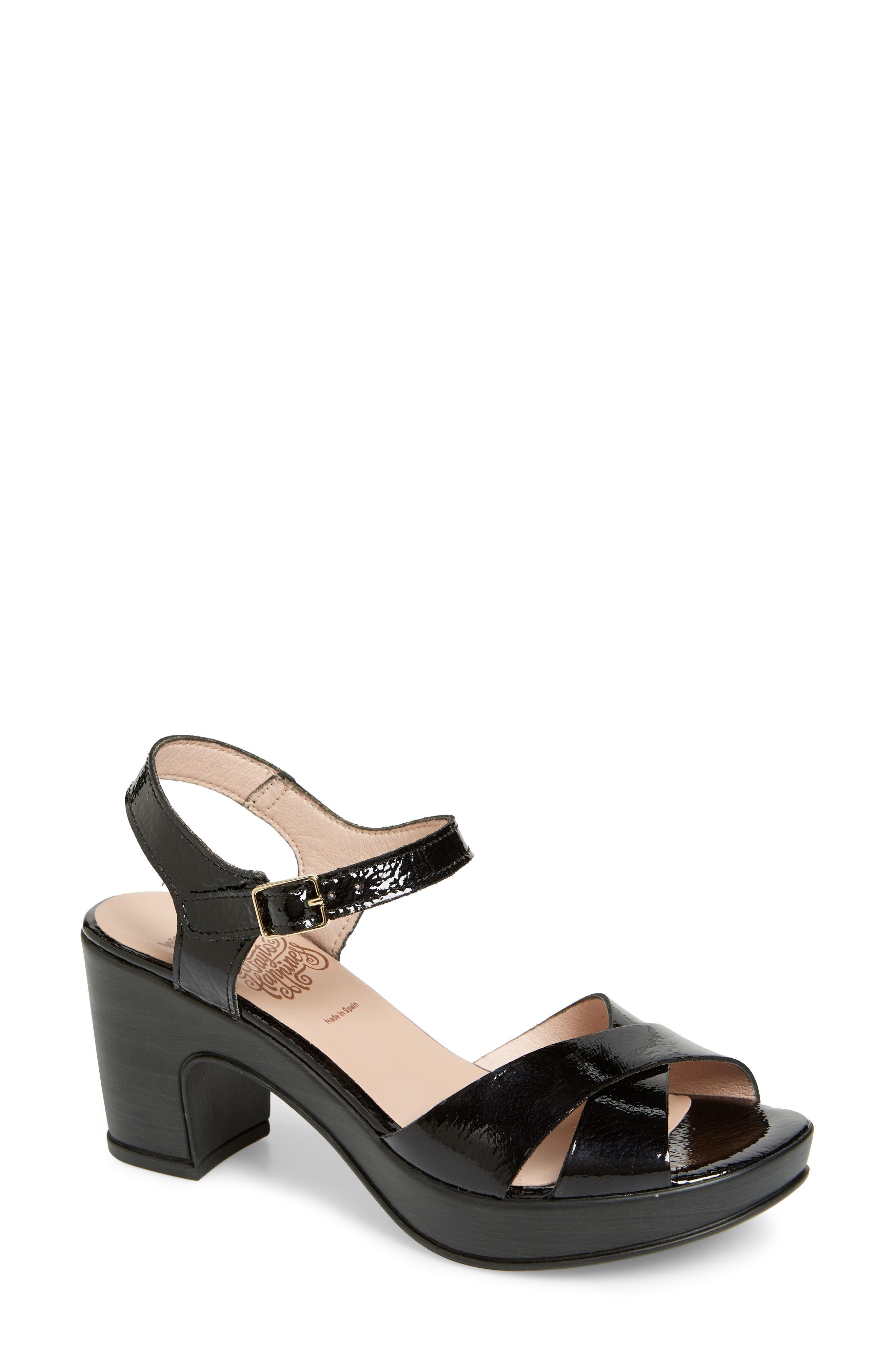 Platform Sandal,                             Main thumbnail 1, color,                             Black Patent Leather