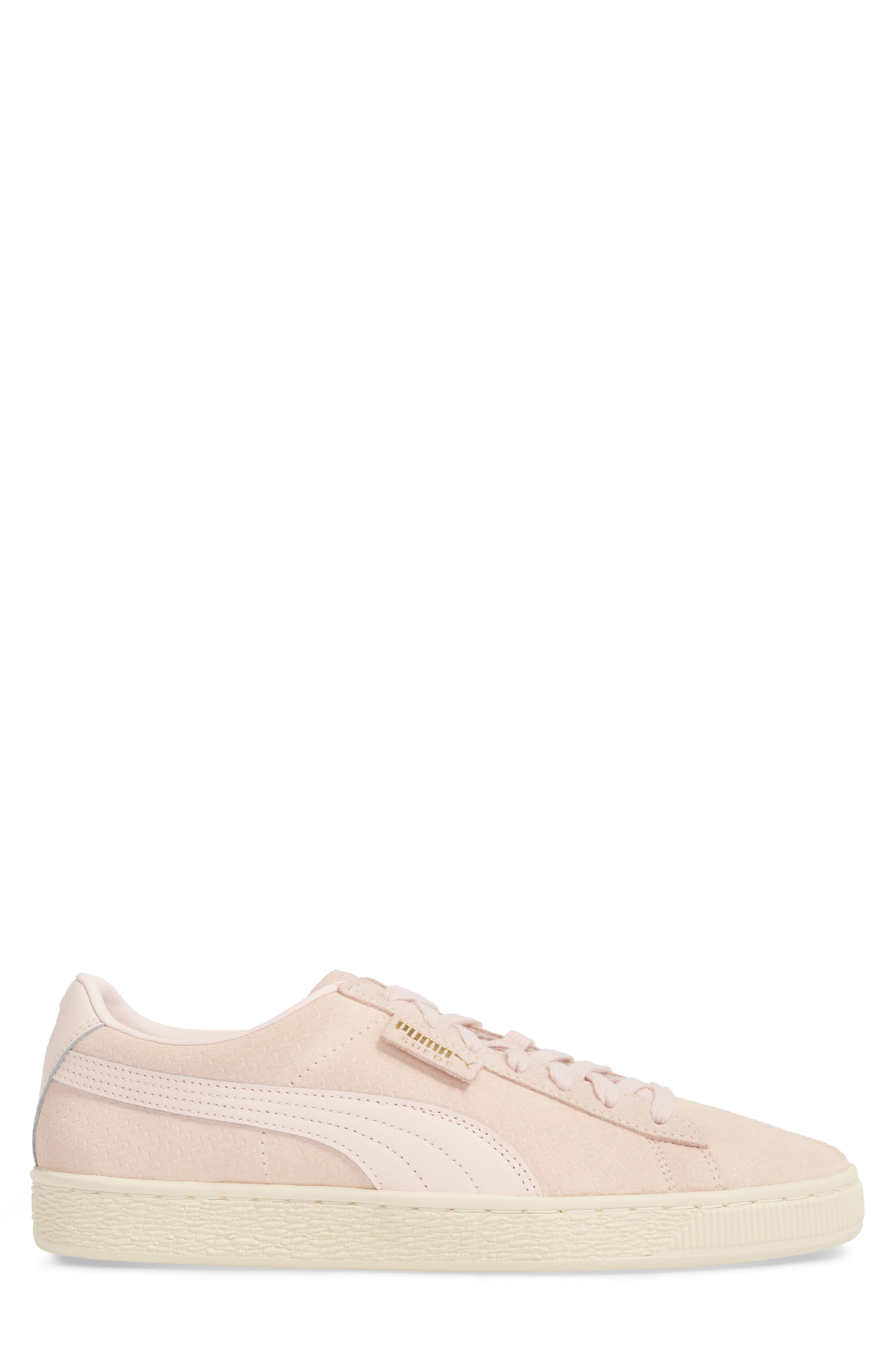 Suede Classic Perforation Sneaker,                             Alternate thumbnail 3, color,                             Pearl/ Whisper White Suede