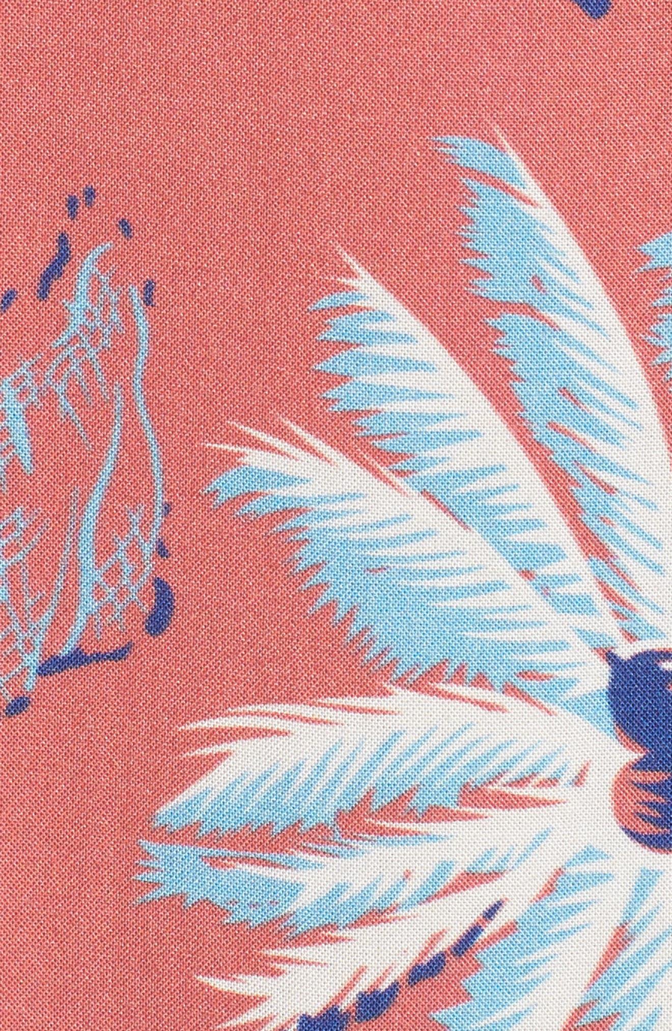 Hawaiian Print Sport Shirt,                             Alternate thumbnail 5, color,                             Red Palm Hawaiian