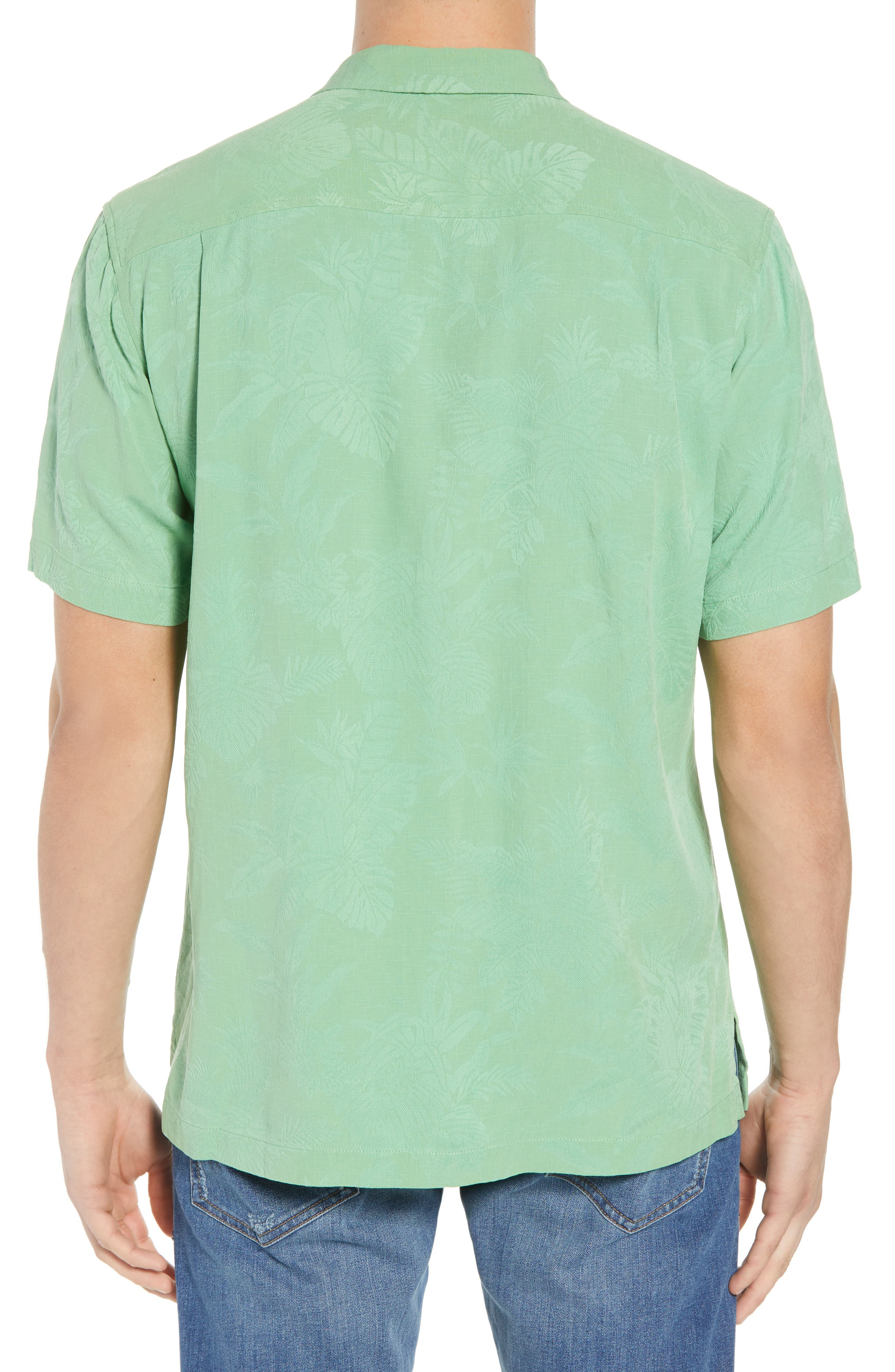 St Lucia Fronds Silk Camp Shirt,                             Alternate thumbnail 3, color,                             Tulum