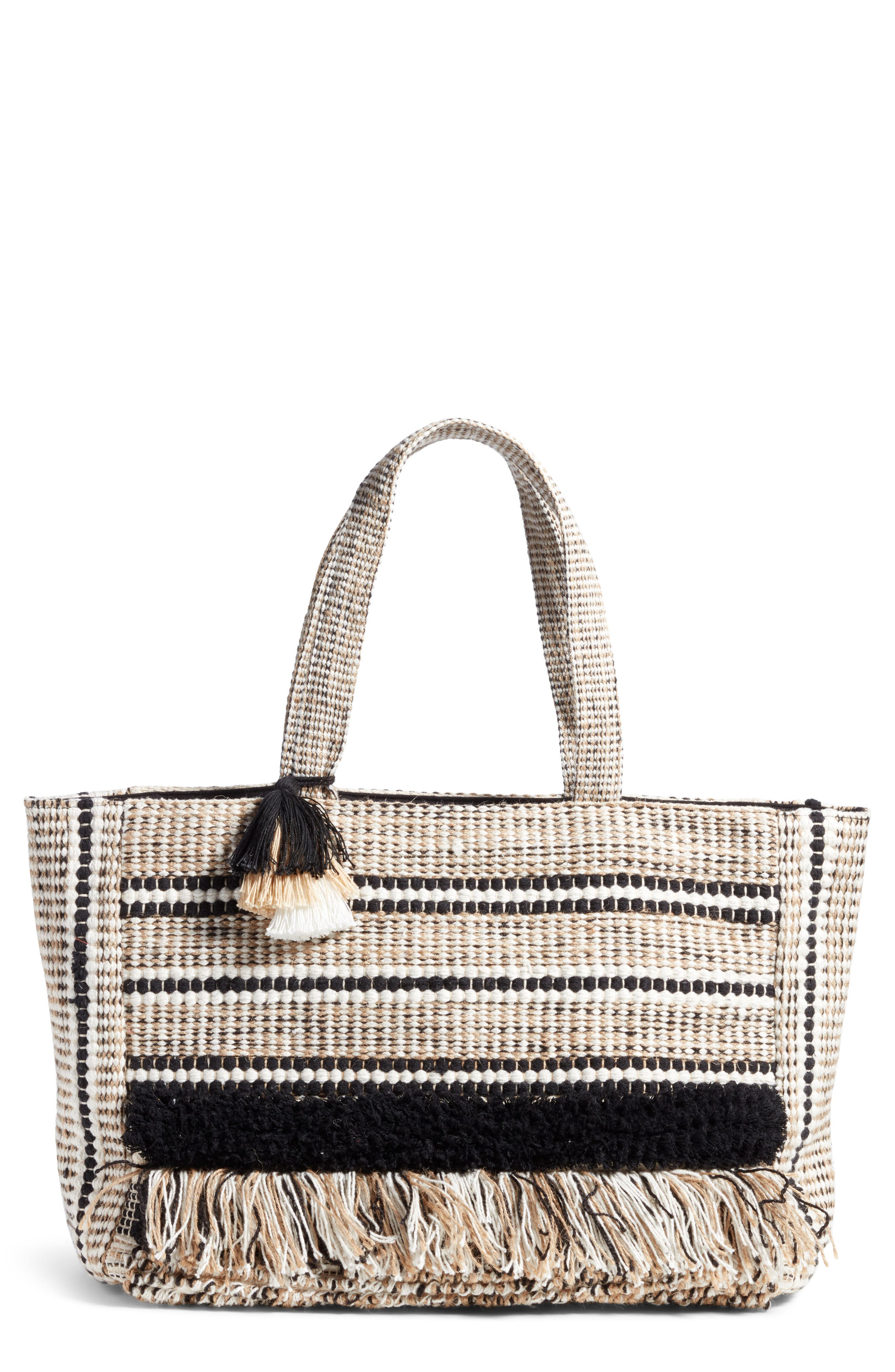 Carried Away Woven Weekend Tote,                             Main thumbnail 1, color,                             Black Sands