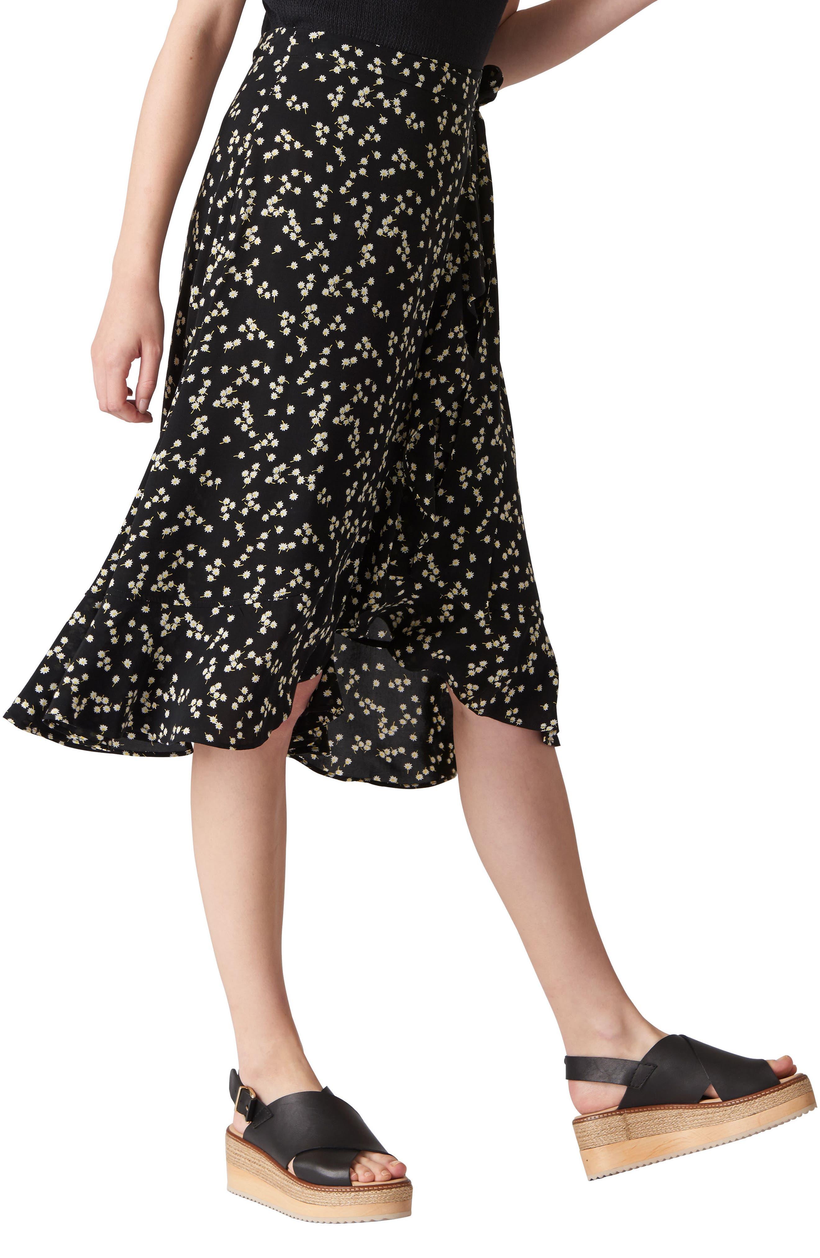 Print Frill Wrap Skirt,                         Main,                         color, Black/ Multi