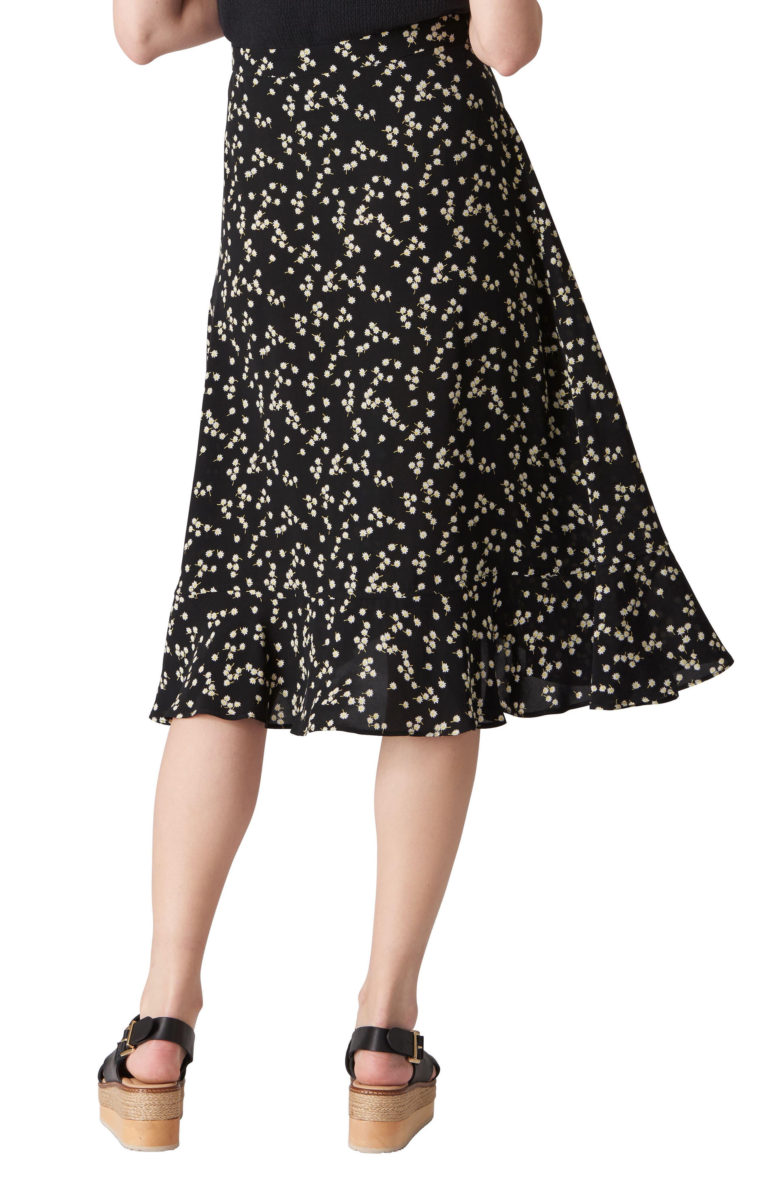 Print Frill Wrap Skirt,                             Alternate thumbnail 2, color,                             Black/ Multi