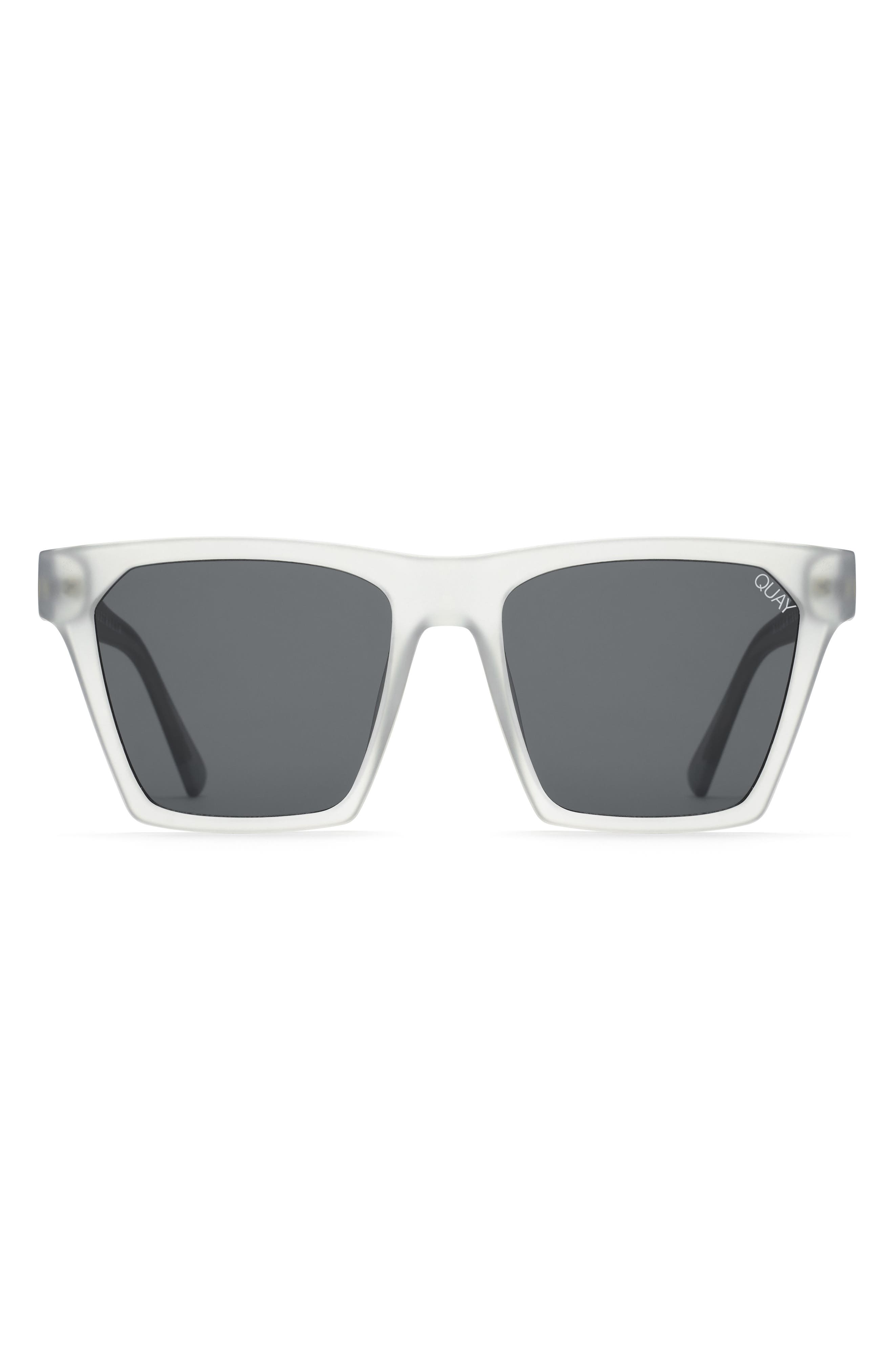 x Missguided Alright 55mm Square Sunglasses,                             Alternate thumbnail 4, color,                             White/ Smoke