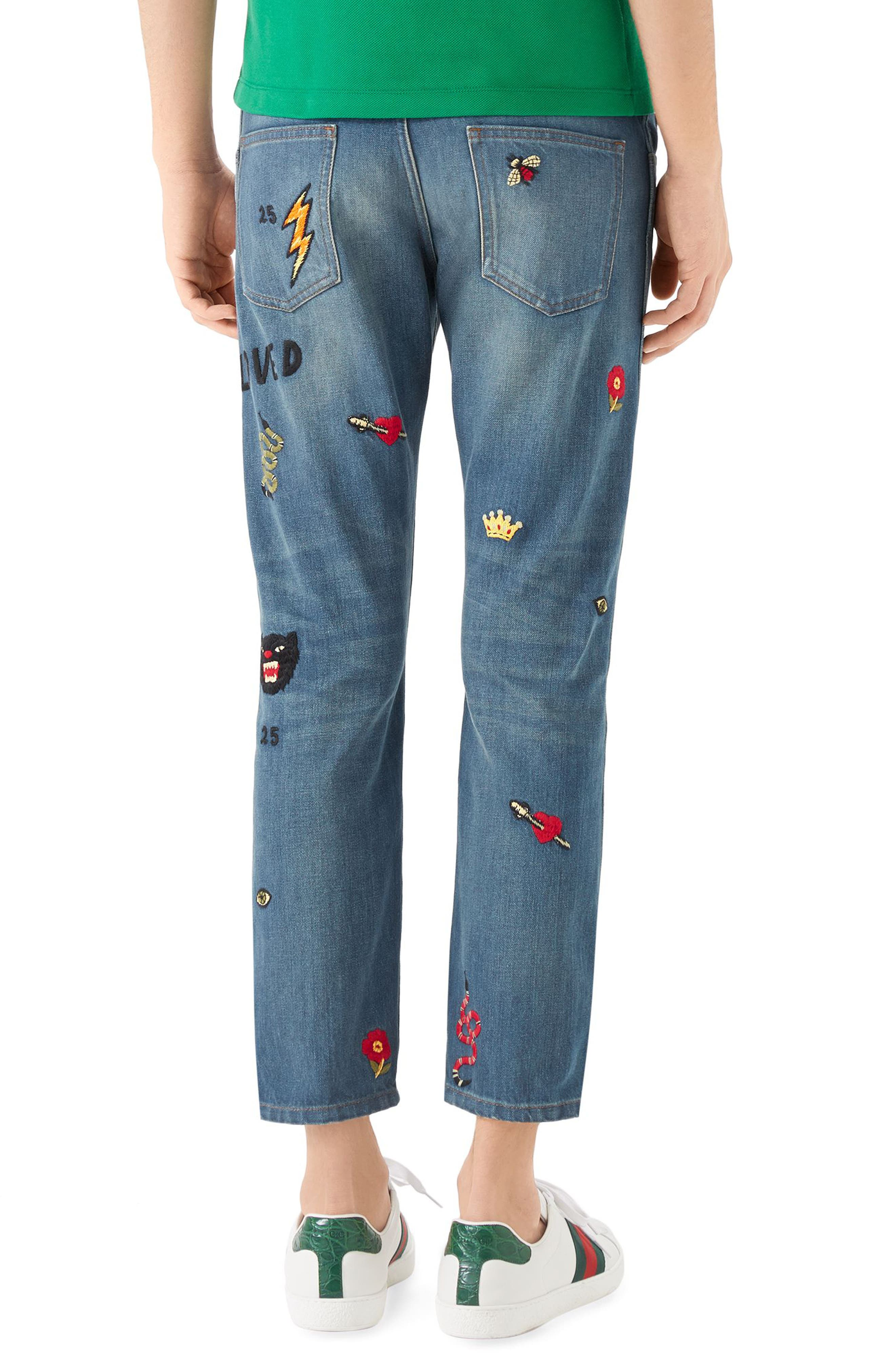Embroidered Slim Fit Jeans,                             Alternate thumbnail 2, color,                             Blue