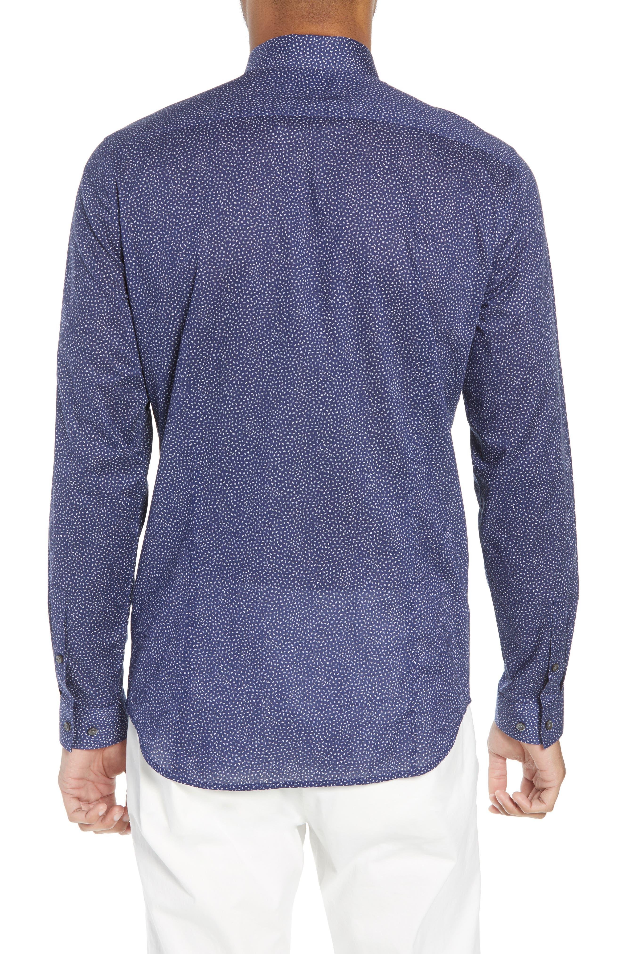 Murrary Trim Fit Print Sport Shirt,                             Alternate thumbnail 3, color,                             Eclipse