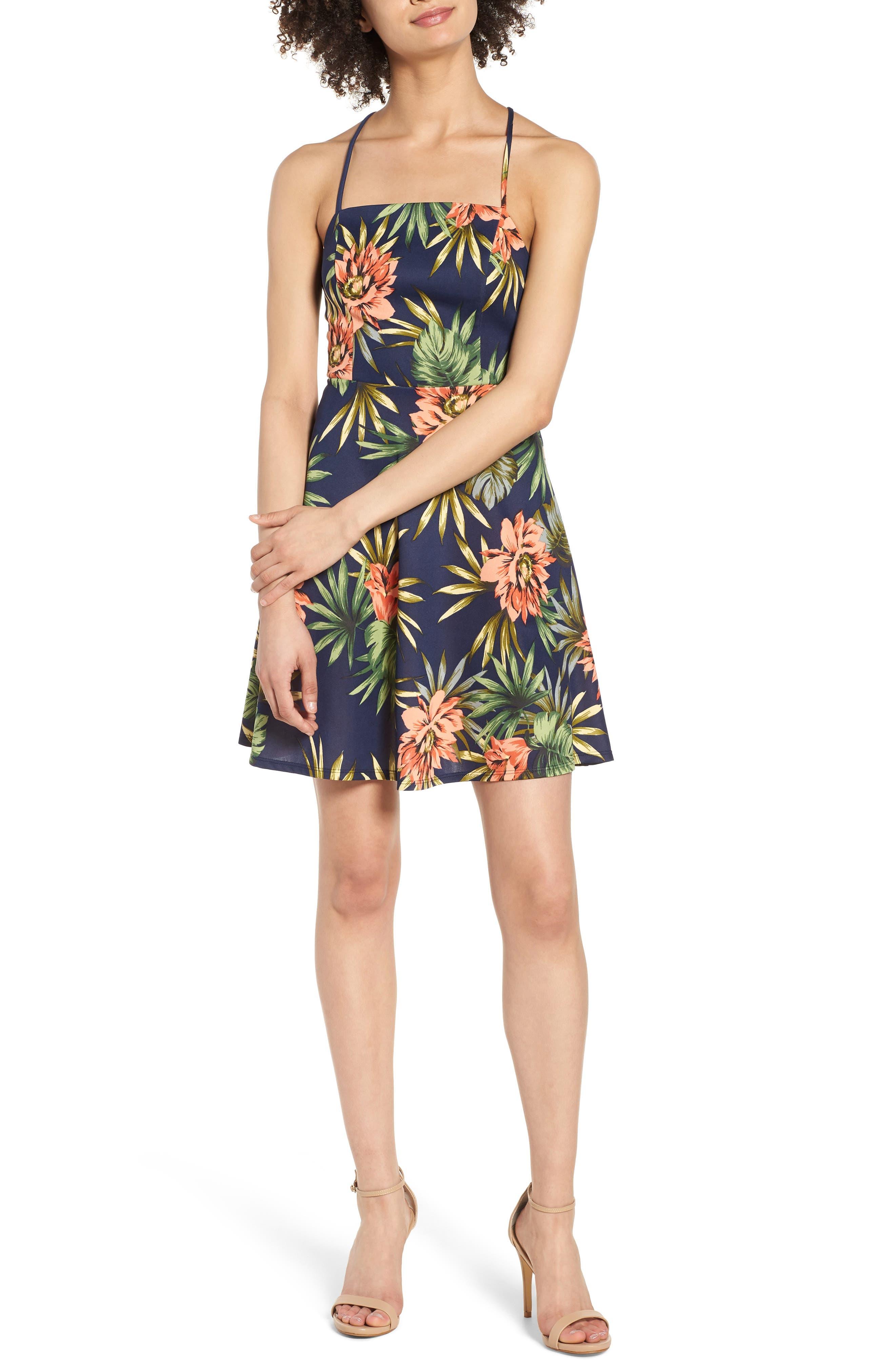 Fit & Flare Dress,                             Main thumbnail 1, color,                             266 Navy