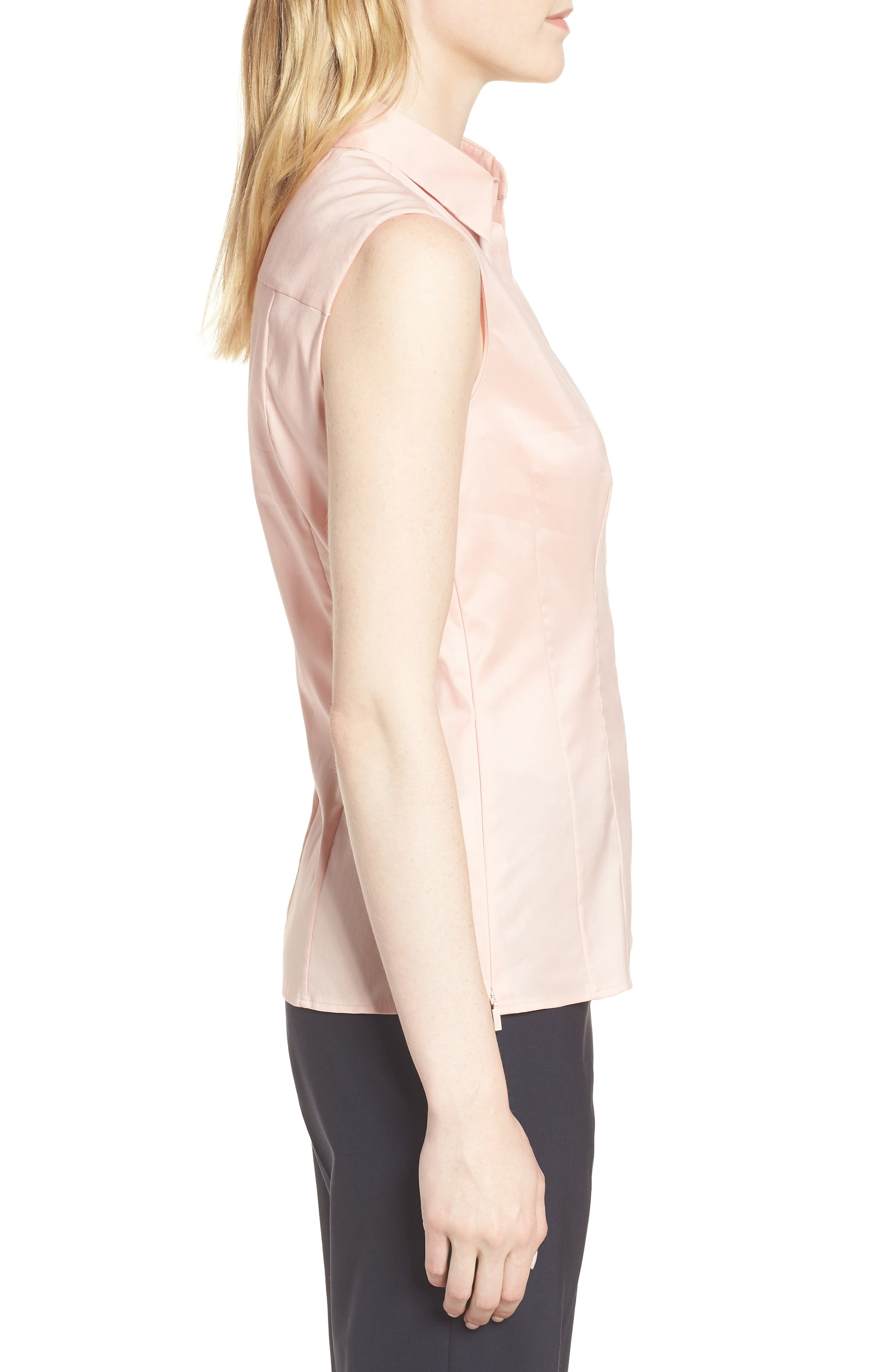 Bashiva Stretch Poplin Blouse,                             Alternate thumbnail 3, color,                             Blush