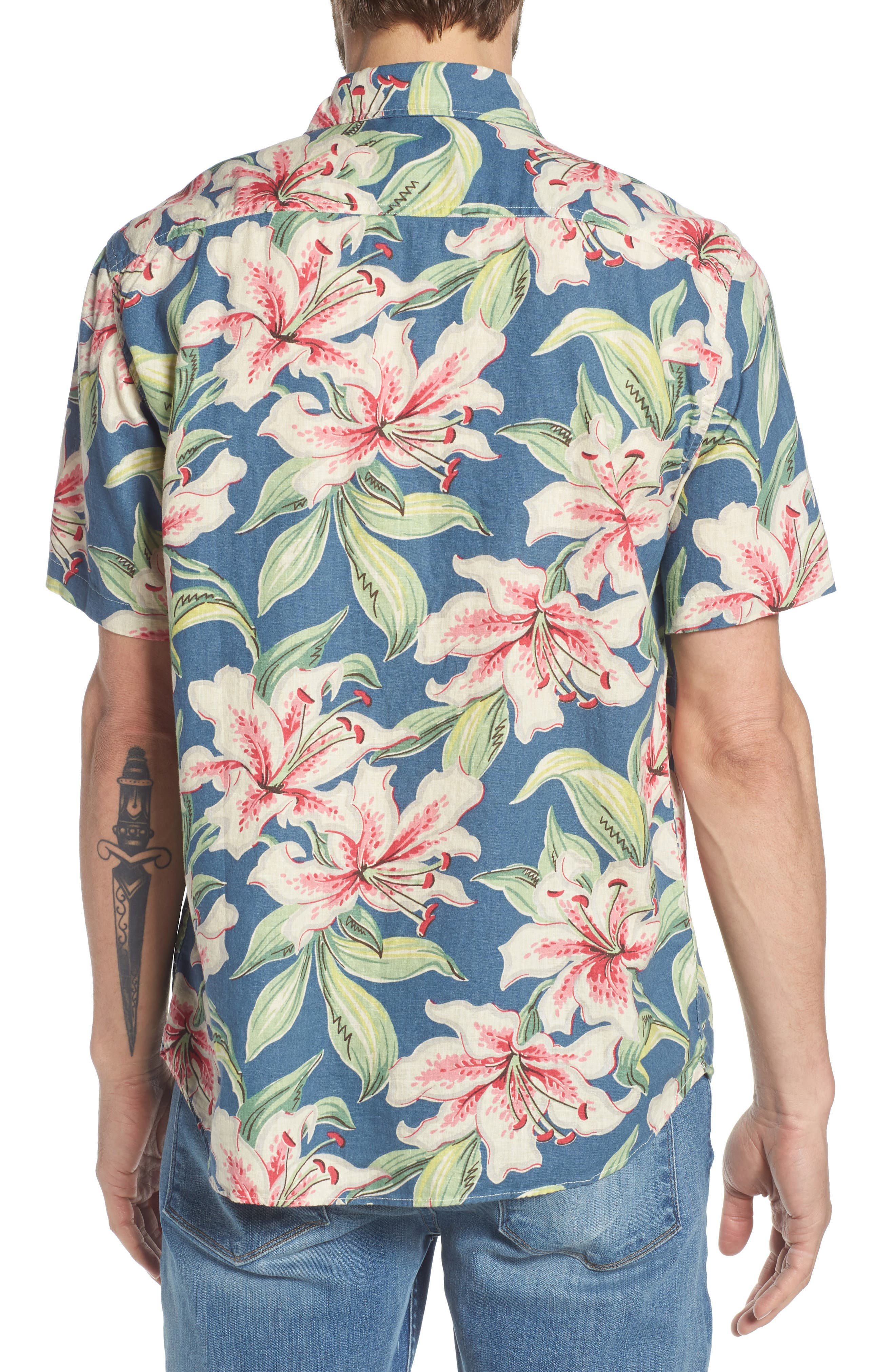 Tropical Atoll Sport Shirt,                             Alternate thumbnail 3, color,                             Hibiscus Hawaiian